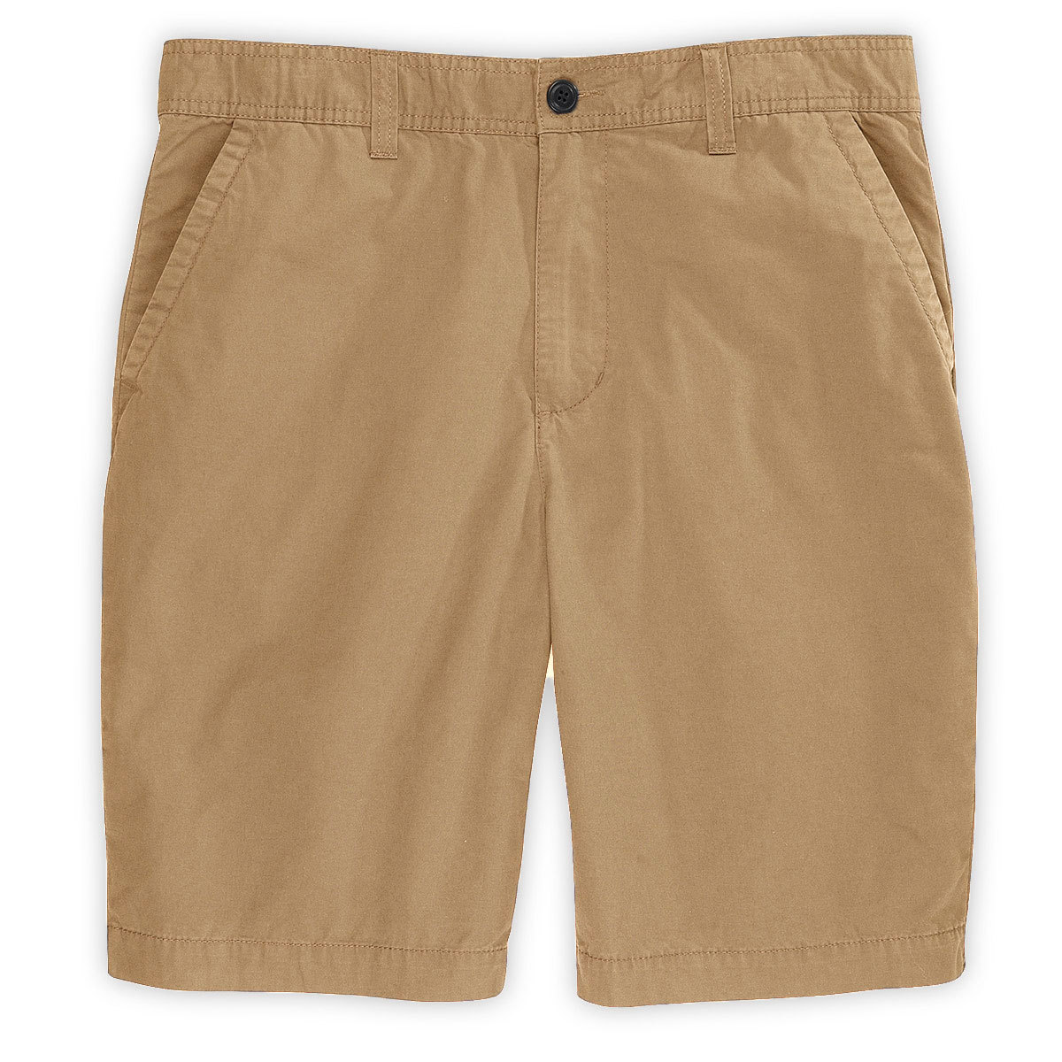 D55 Guys' Canvas Flat Front Shorts - Brown, 38