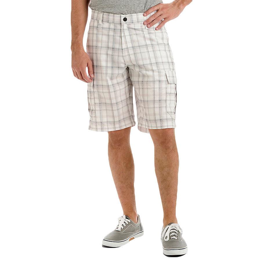 LEE Guys' Performance Cargo Plaid Shorts - Black, 30