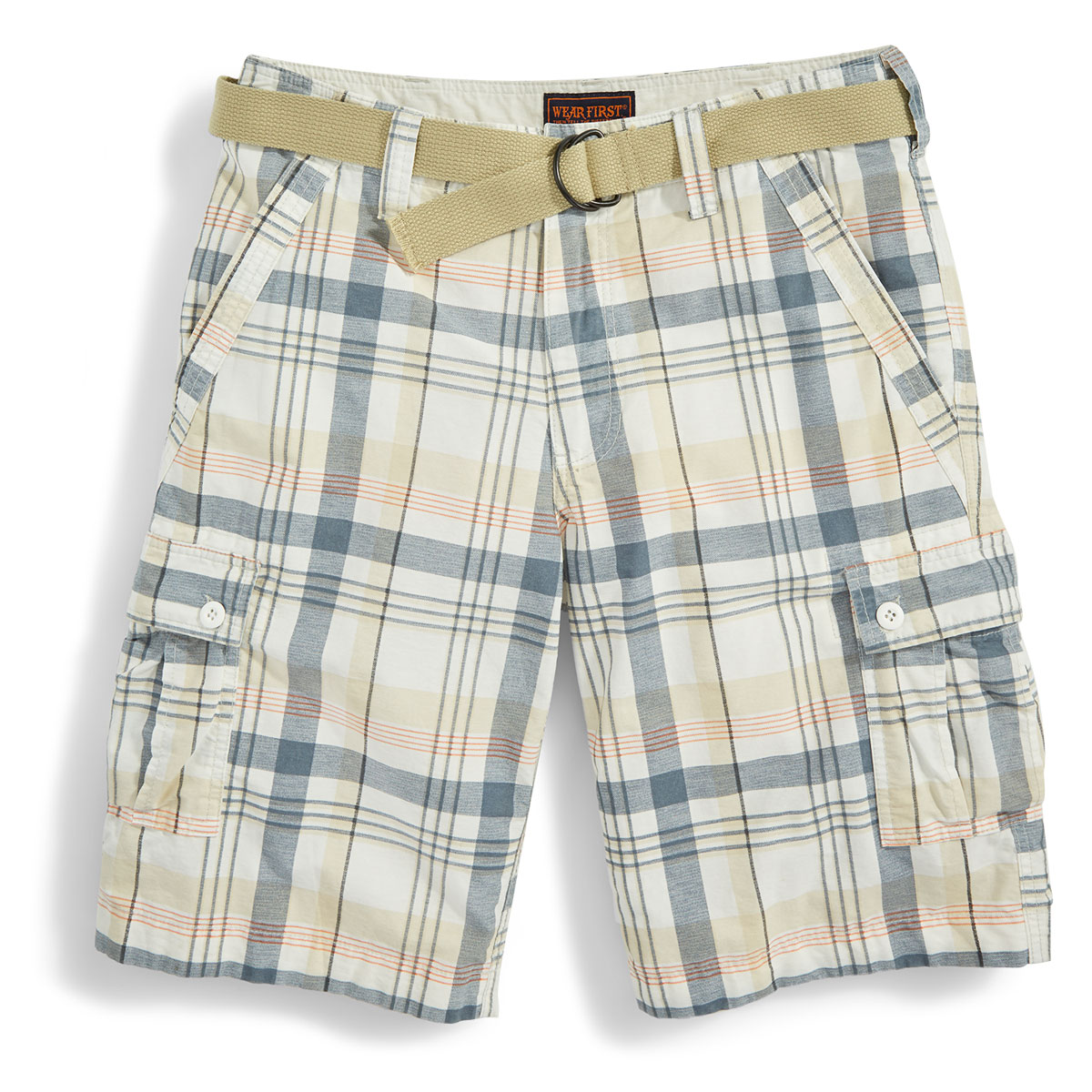 Wear First Guys' Belted Plaid Cargo Shorts - White, 29