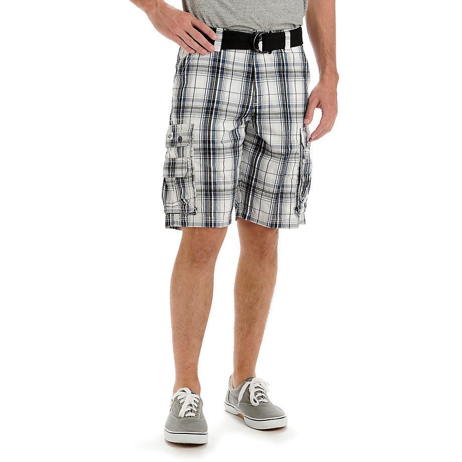 LEE Men's Wyoming Plaid Cargo Shorts - Blue, 40