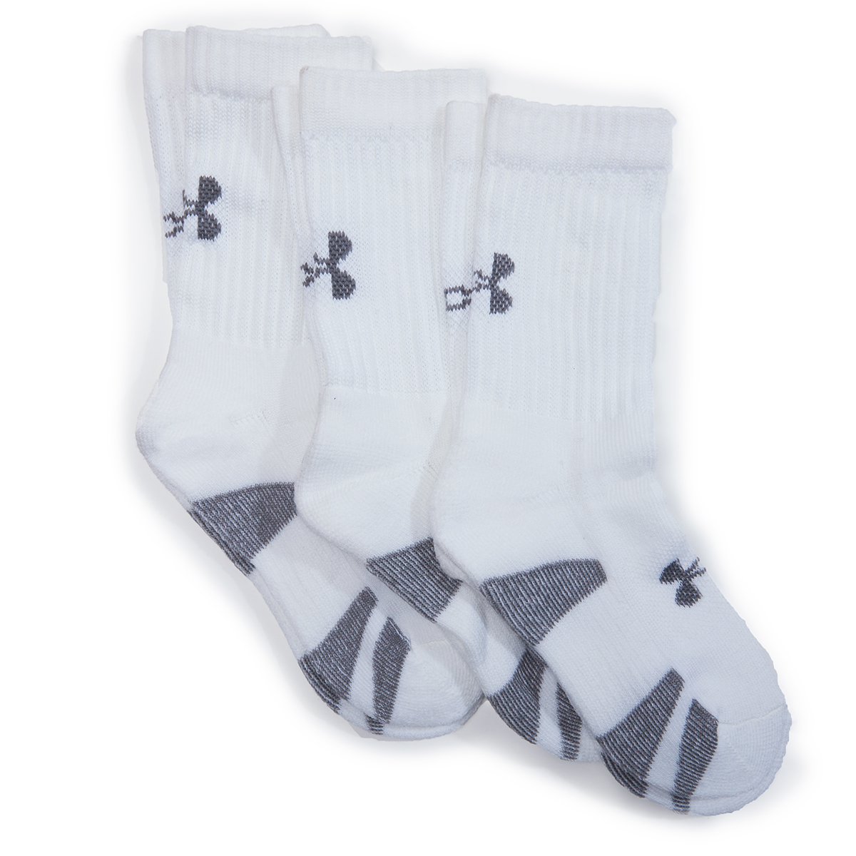 Under Armour Boys' Training Crew Socks, 3-Pack - White, L