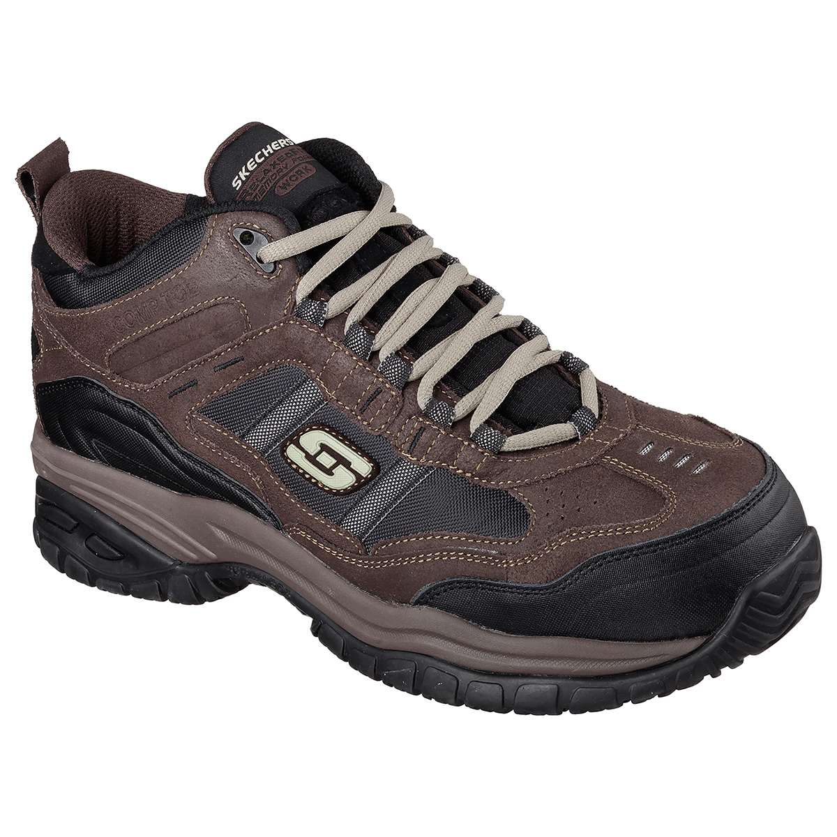 Details about Skechers Men's Work Relaxed Fit: Soft Stride Canopy Composite Toe Shoes Brown