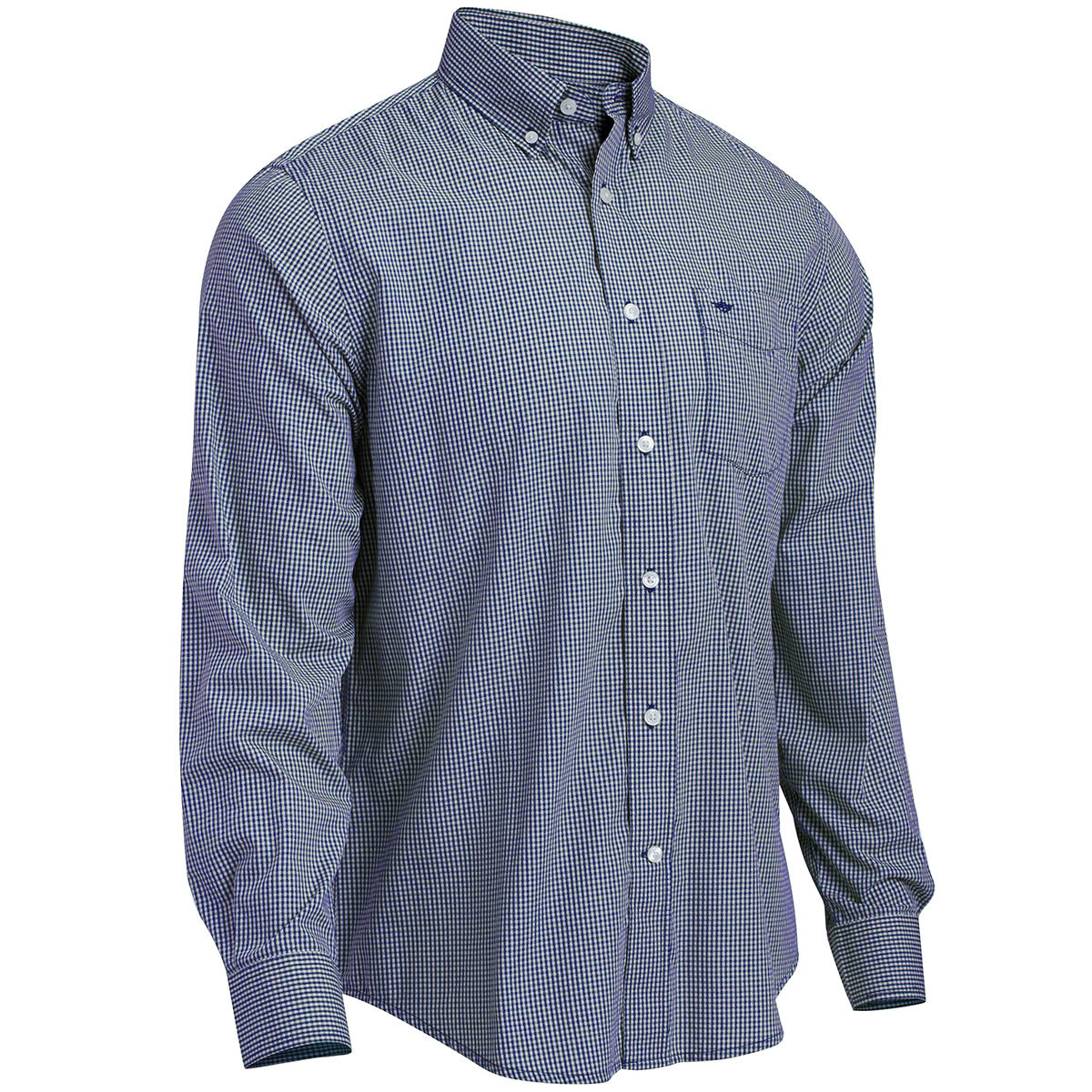 Dockers Men's Long-Sleeve Micro Check Shirt - Blue, M
