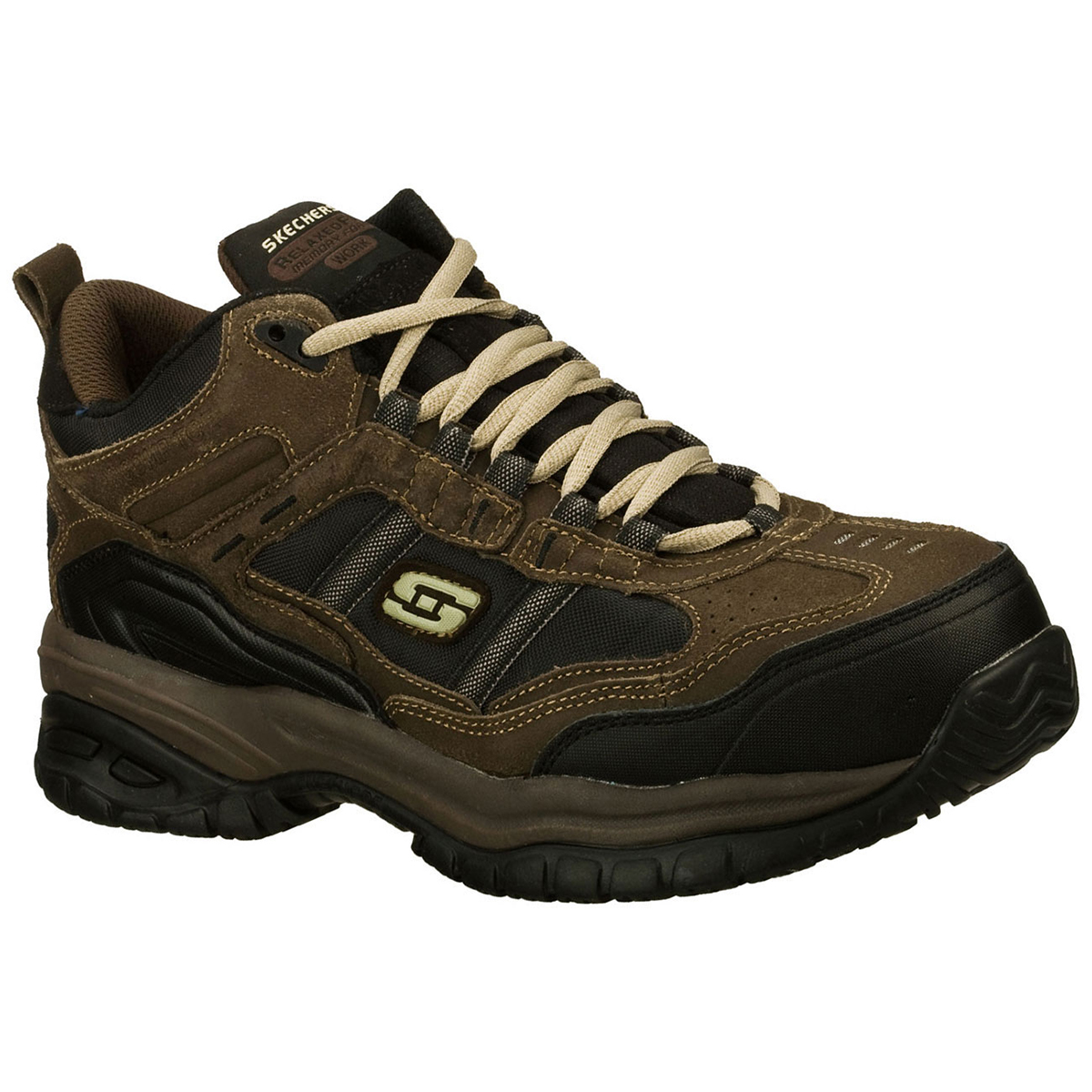 Skechers Men's Work Relaxed Fit: Soft Stride Canopy Comp Toe, Extra Wide - Brown, 8.5
