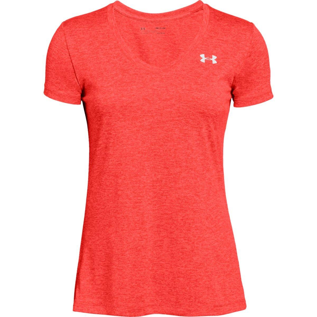 Under Armour Women's Tech Twist V-Neck Tee - Orange, XL