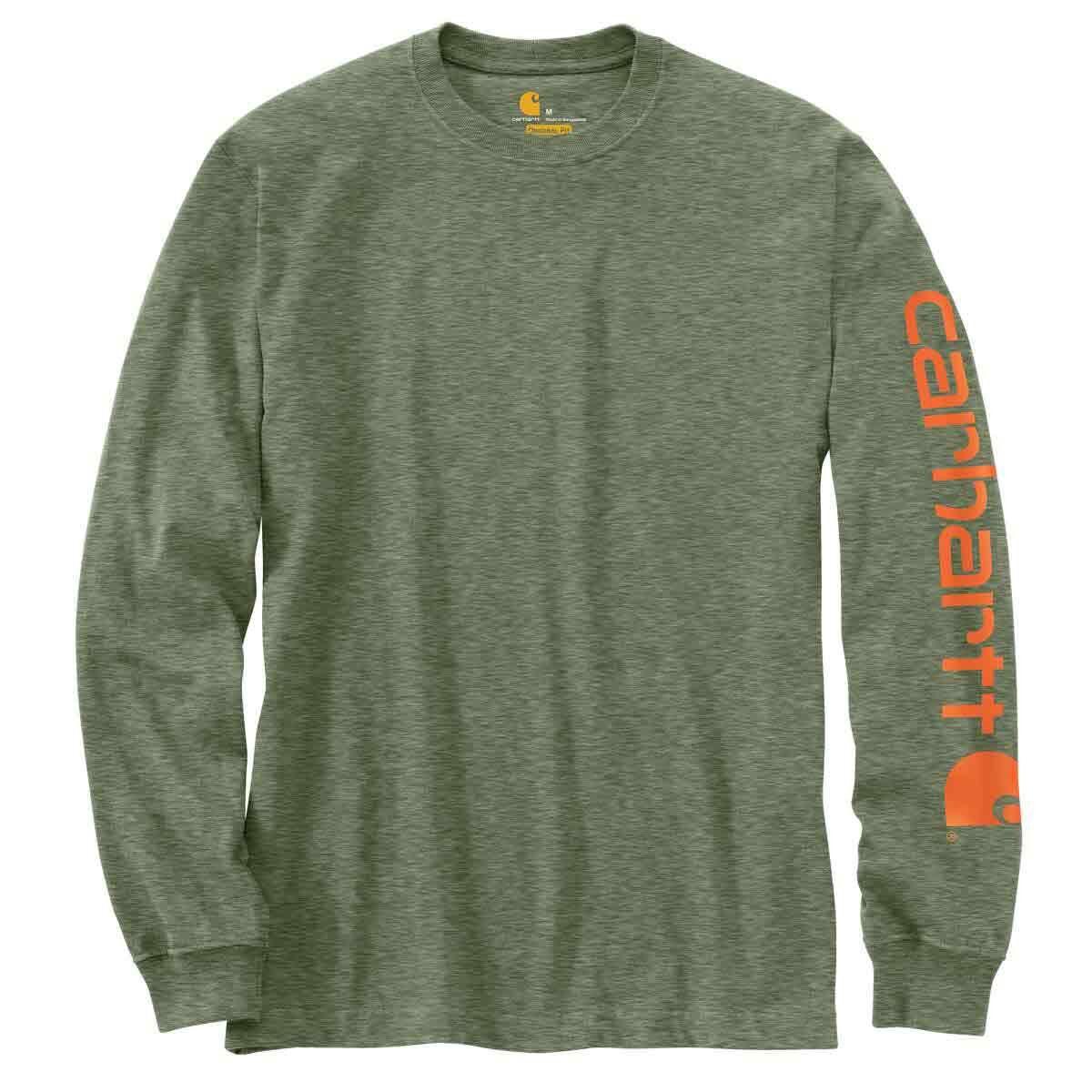 Carhartt Men's Long-Sleeve Graphic Logo Tee - Green, S