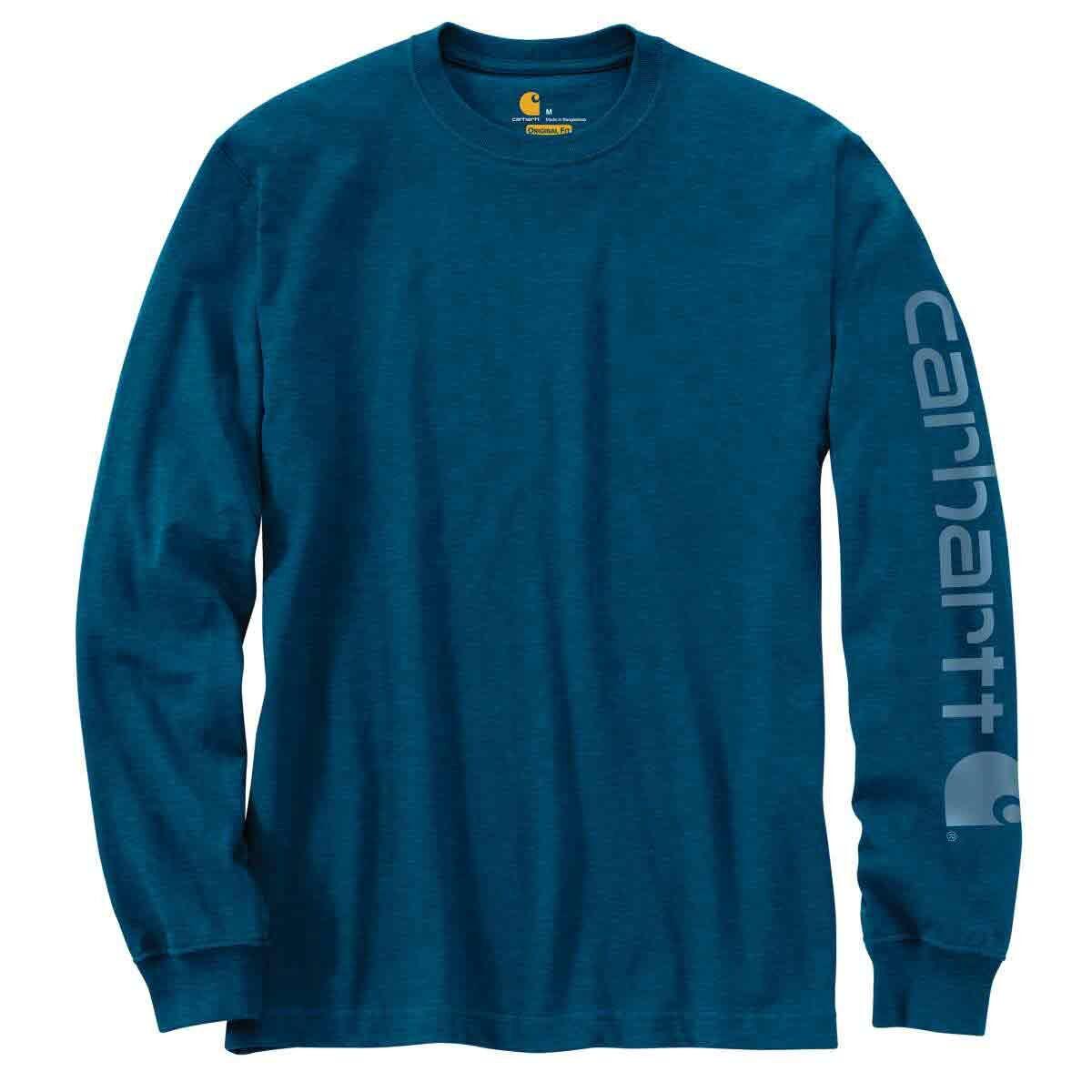 Carhartt Men's Long-Sleeve Graphic Logo Tee - Blue, S
