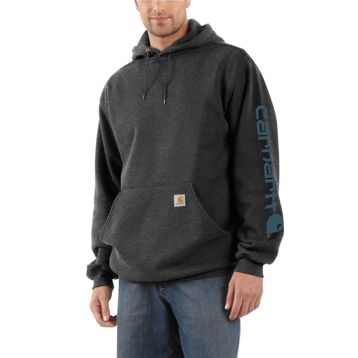 Carhartt Men's Midweight Hooded Logo Sweatshirt - Black, L
