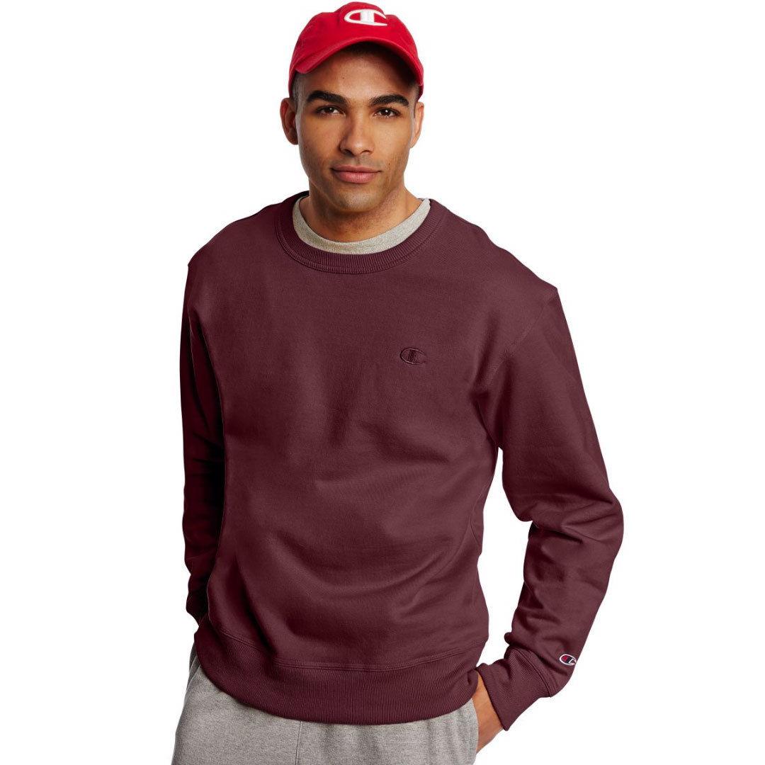 Champion Men's Powerblend Fleece Crewneck Pullover - Red, S