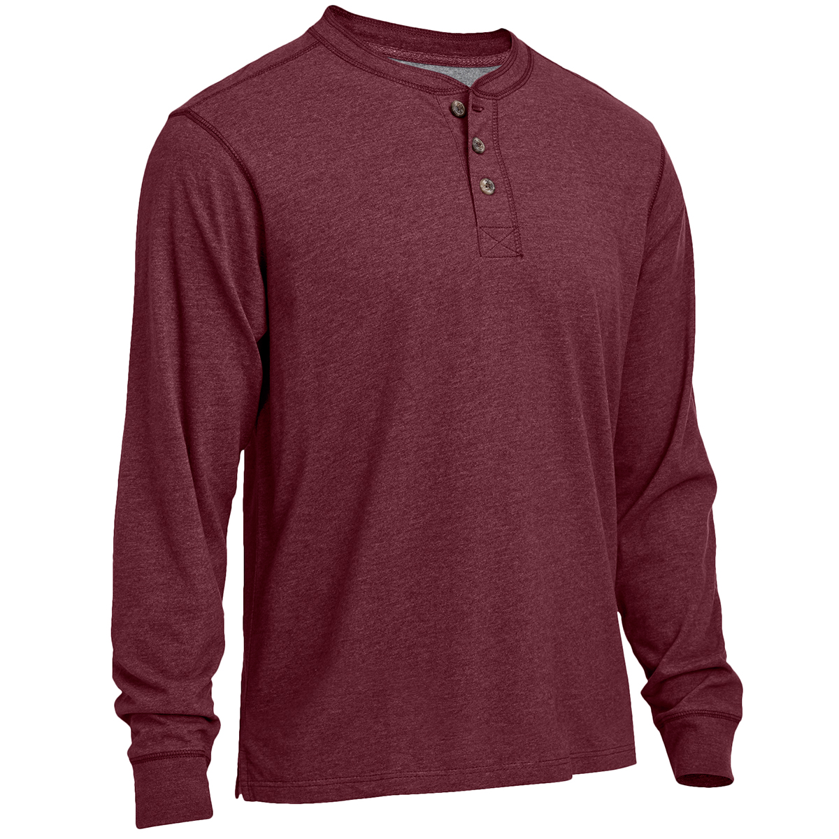 Rugged Trails Men's Sueded Heather Henley Shirt - Red, M