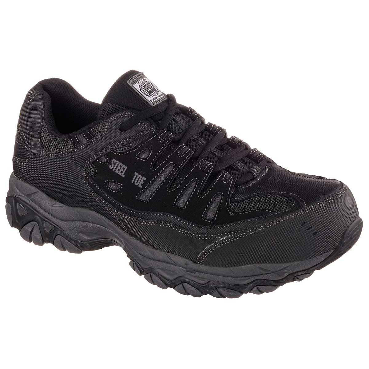 Skechers Men's Work Relaxed Fit: Crankton Steel Toe Work Shoes - Black, 9