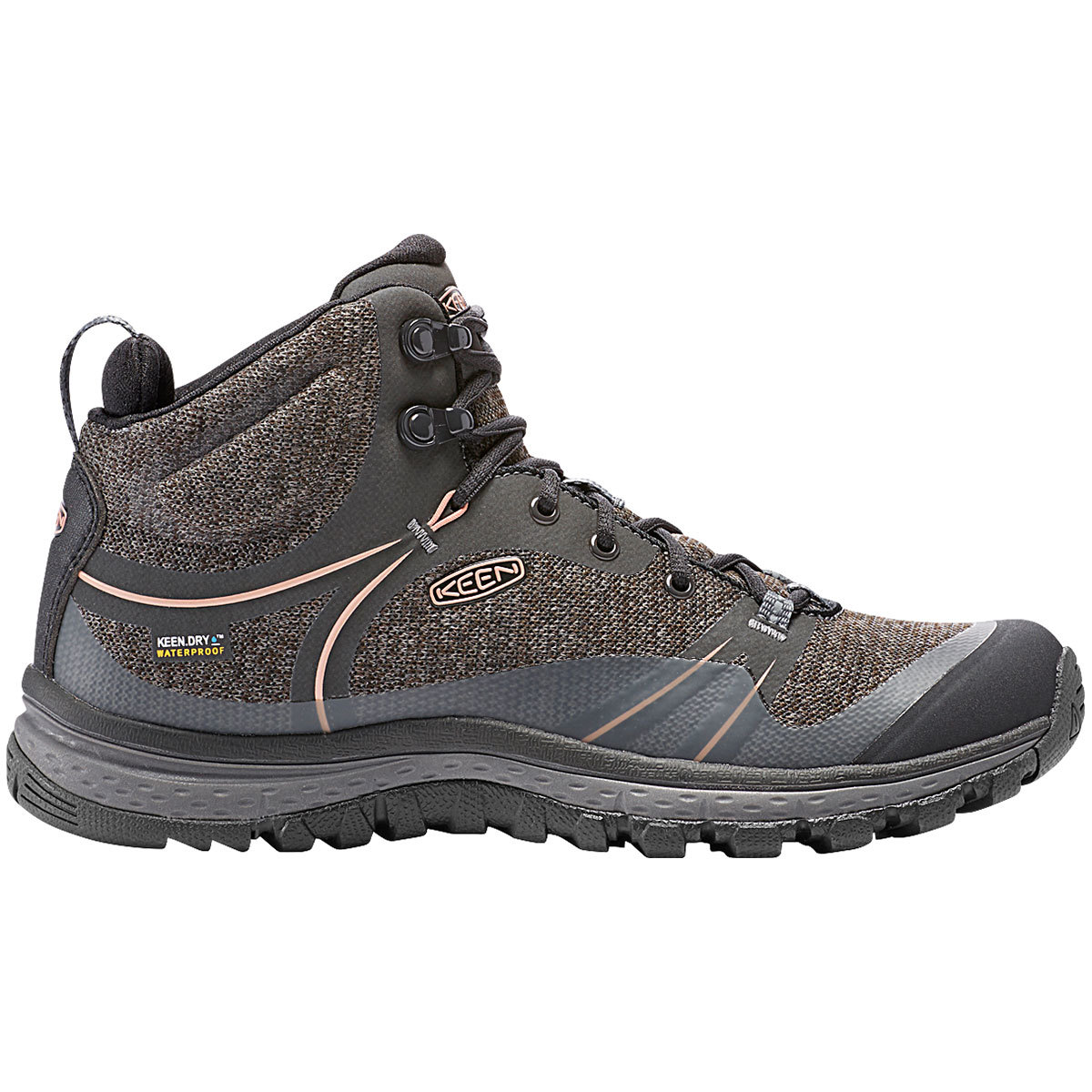 Keen Women's Terradora Mid Waterproof Hiking Boots, Raven - Black, 7.5