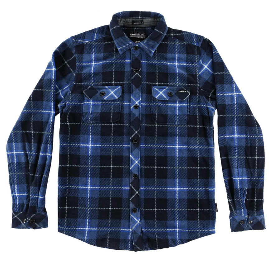 O'neill Boys' Glacier Plaid Long-Sleeve Shirt - Blue, S