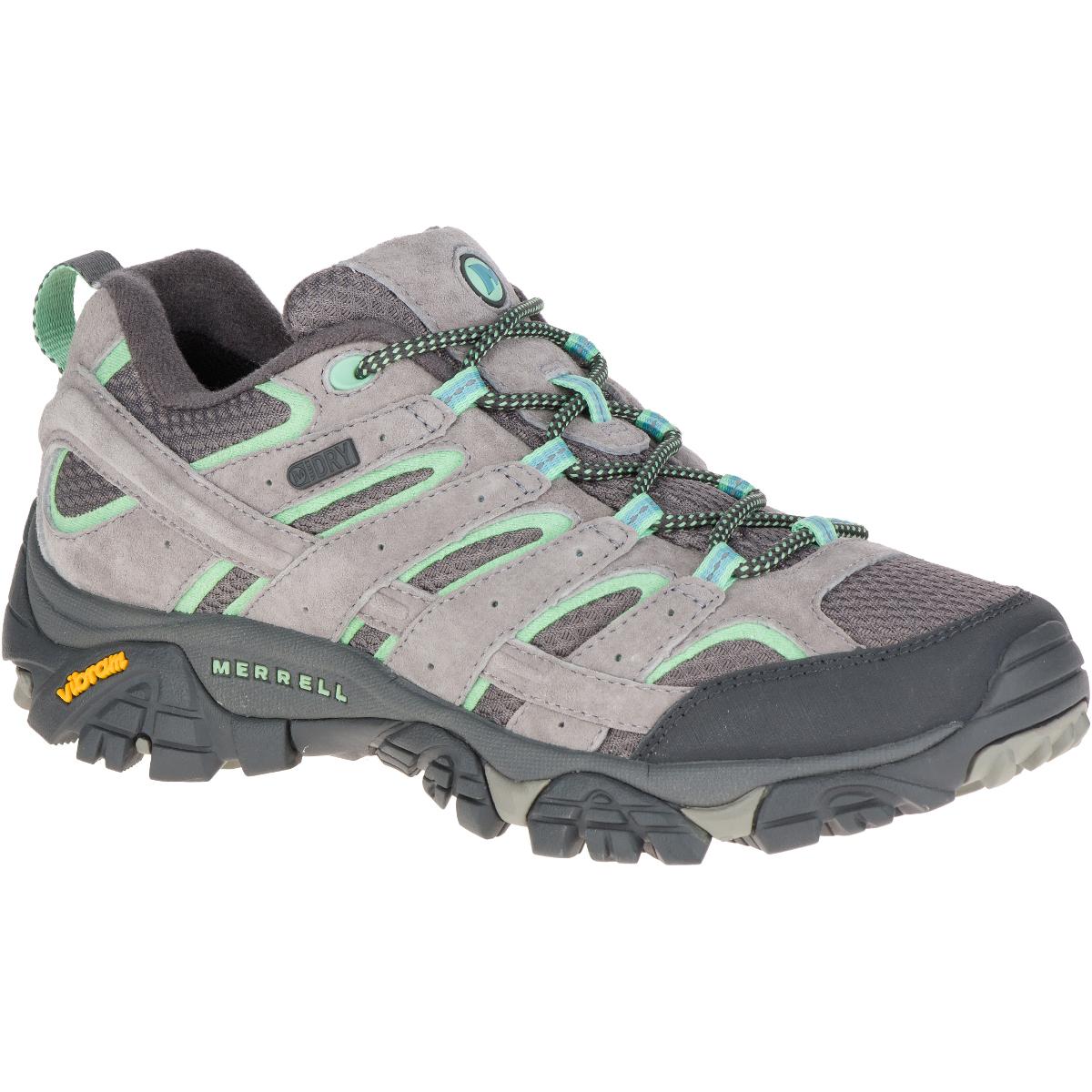 Merrell Women's Moab 2 Waterproof Hiking Shoes, Drizzle/ Mint,wide - Blue, 9.5