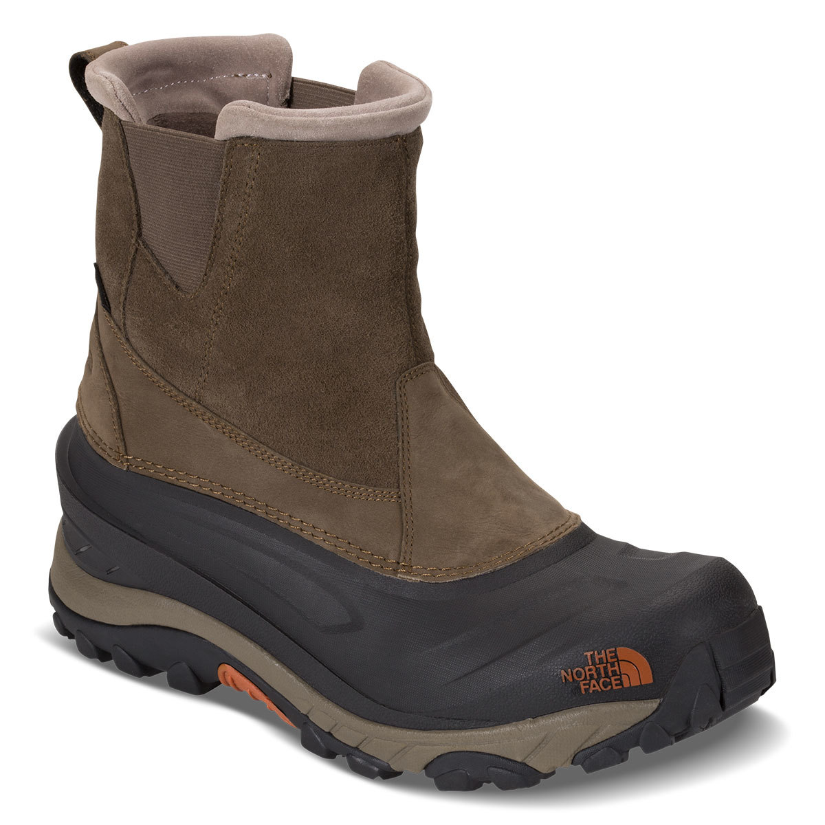 The North Face Men's Chilkat Iii Pull-On Mid Waterproof Winter Boots, Mudpack Brown/orange