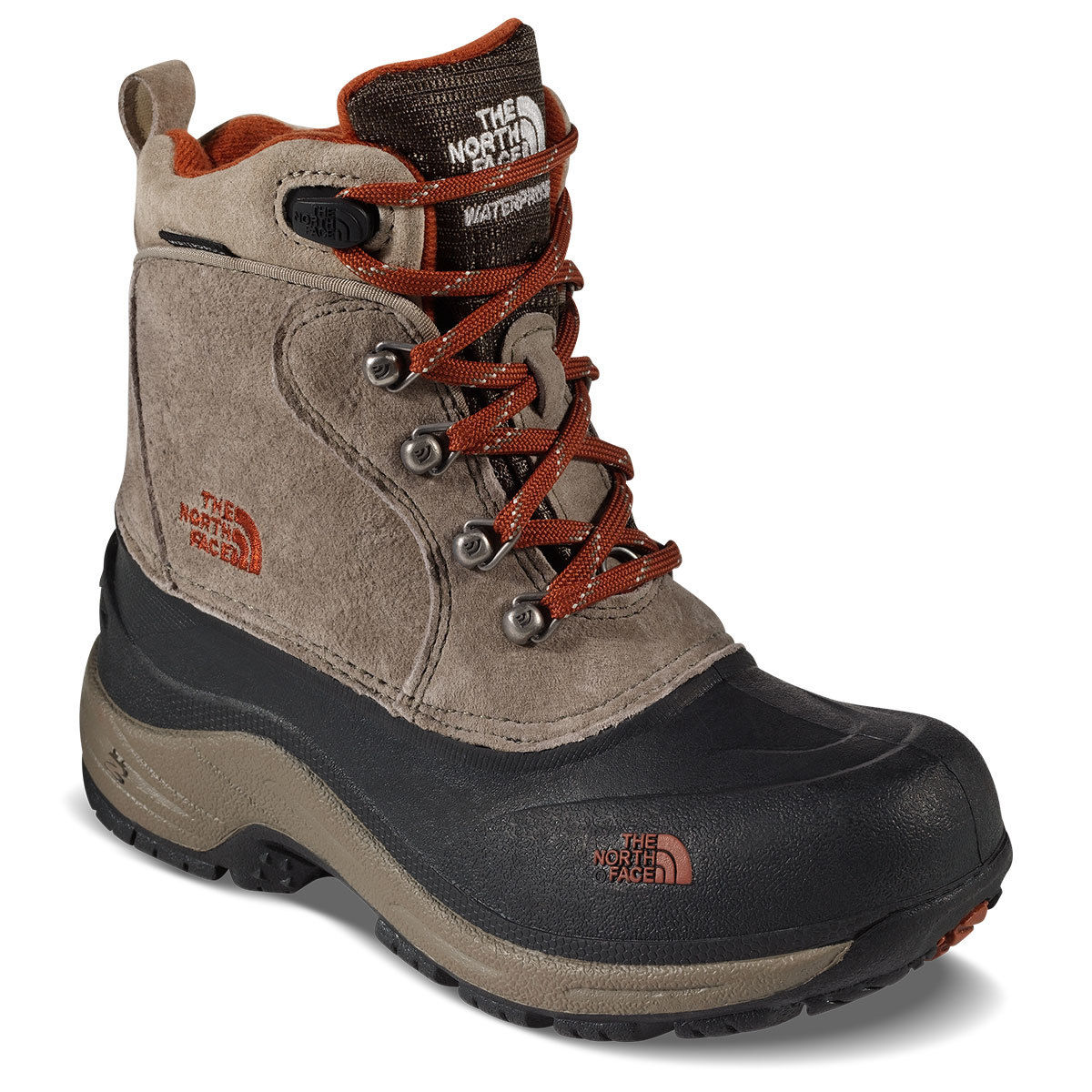 The North Face Boys' Chilkat Lace Ii Waterproof Winter Boots, Mudpack Brown/sienna Orange