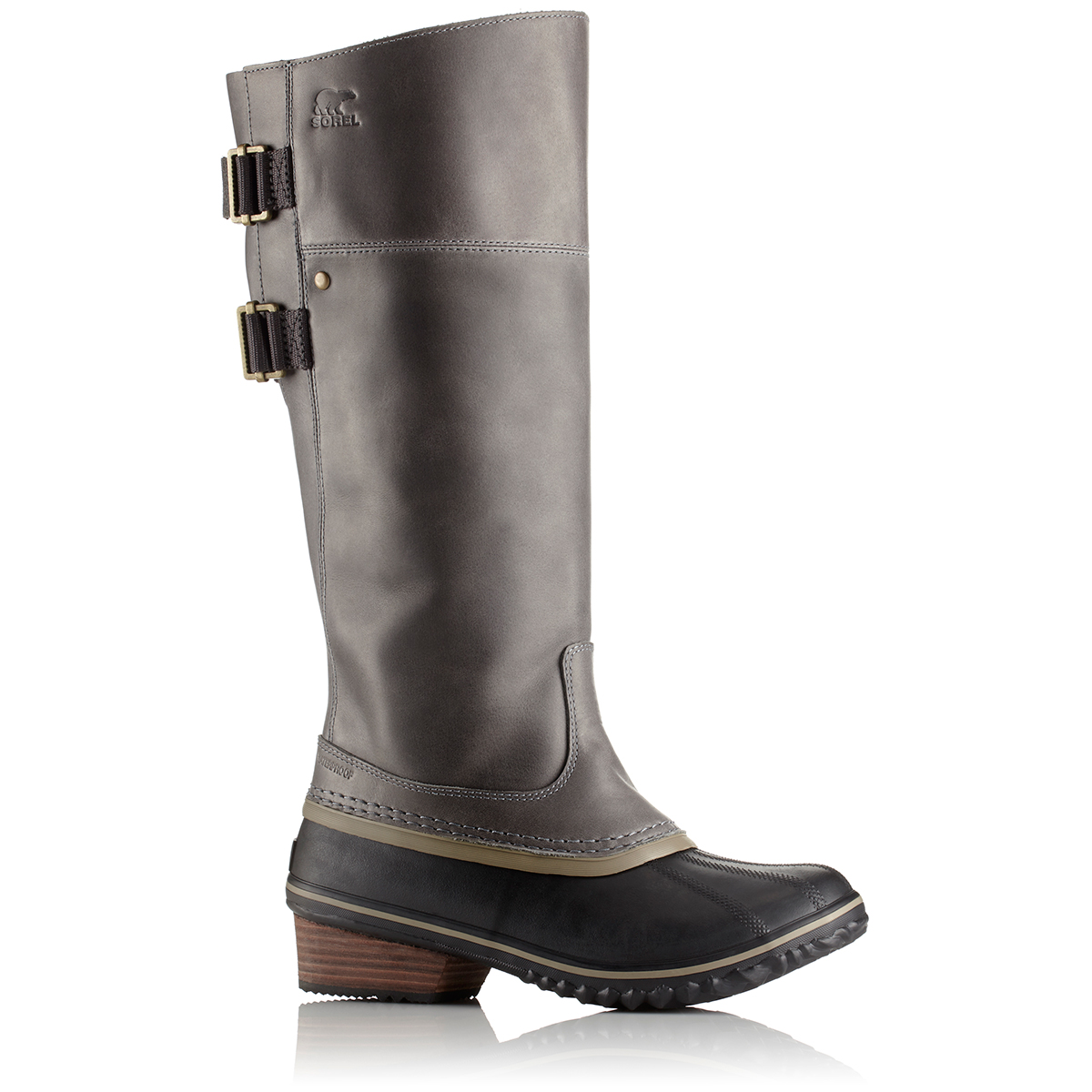 Sorel Women's Slimpack Riding Tall Ii Waterproof Boots, Quarry/pebble - Black, 7