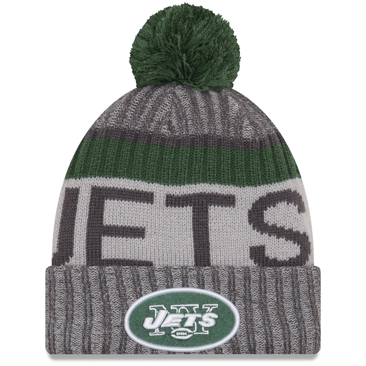 New York Jets 2017 Sport Knit Cuffed Pom Beanie - Black, ONESIZE