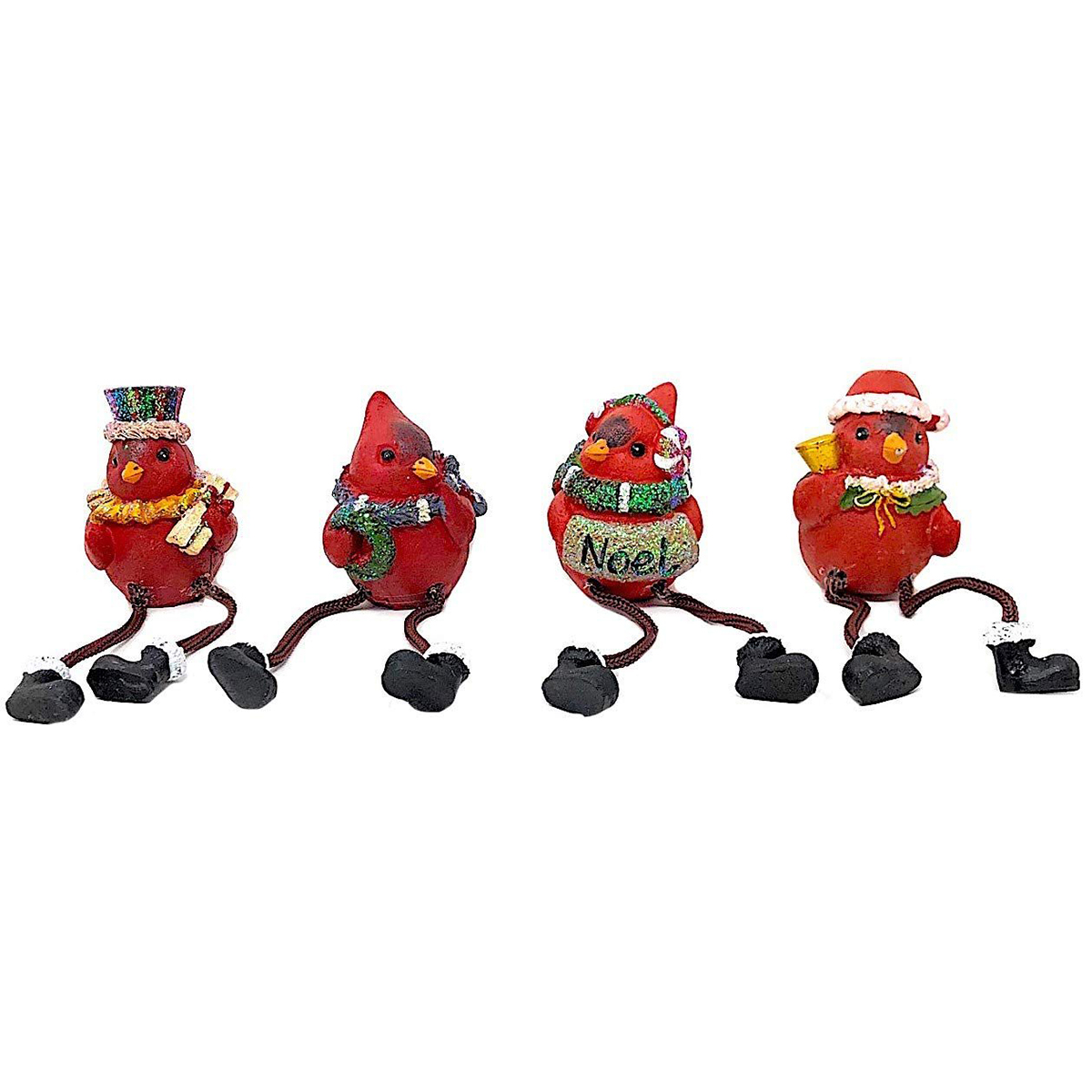 Transpac Red Cardinal Shelf Sitter Figurines, Set Of 4