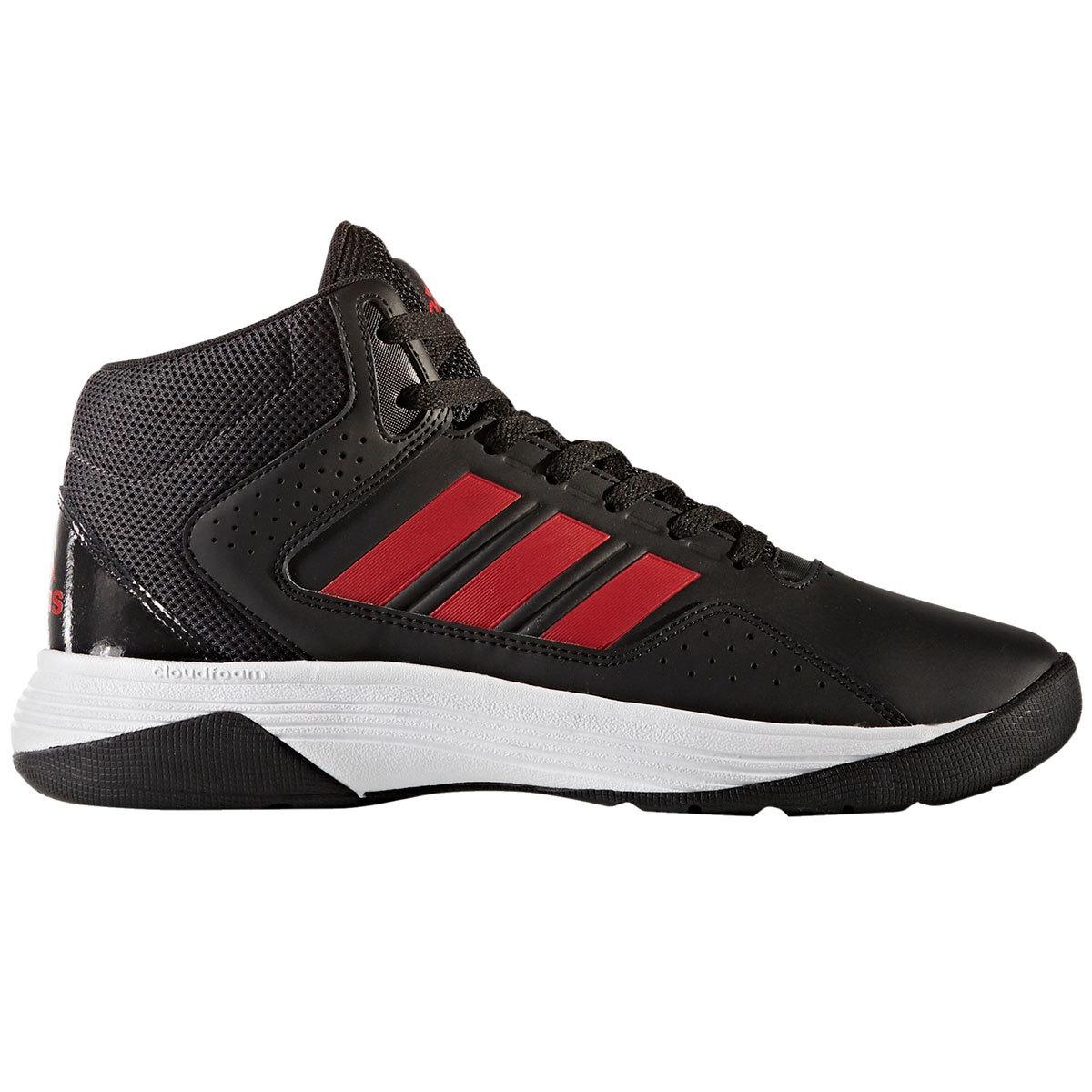 ADIDAS Men's Neo Cloudfoam Ilation Mid Basketball Shoes, Black/Scarlet