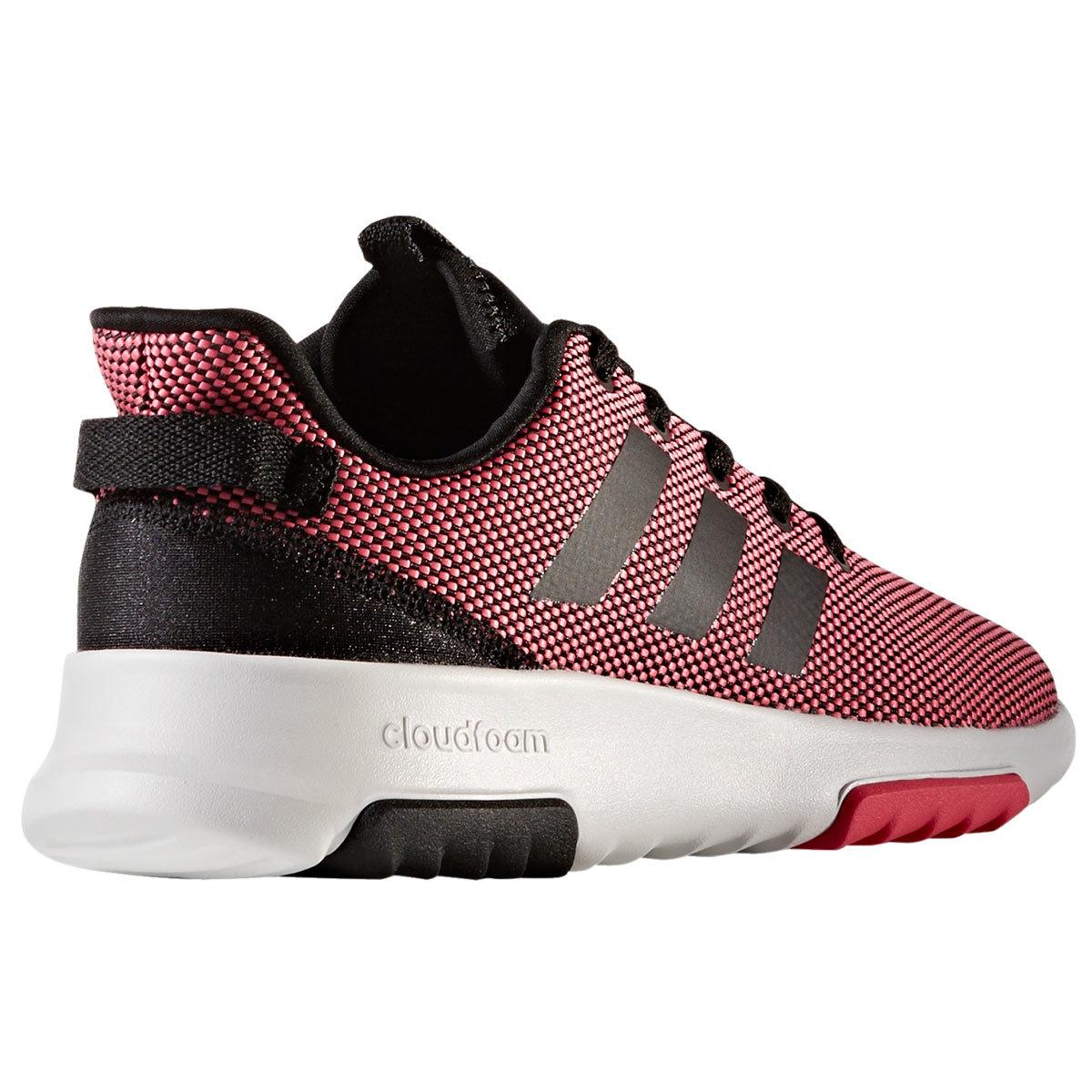 ADIDAS Big Girls' Neo Cloudfoam Racer TR Running Shoes, Pink/Black/White
