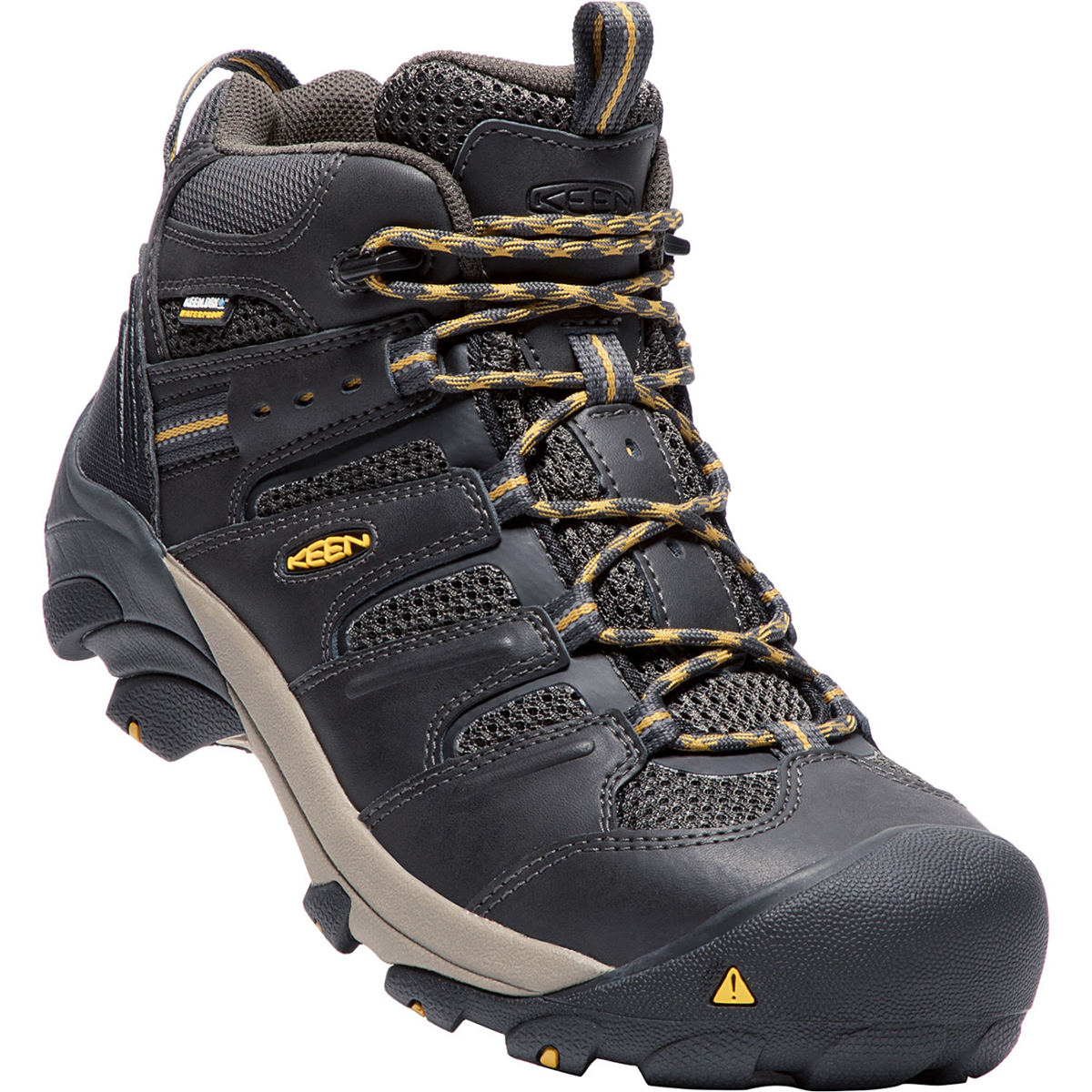 Keen Men's Lansing Waterproof Mid Steel Toe Boot - Black, 9.5