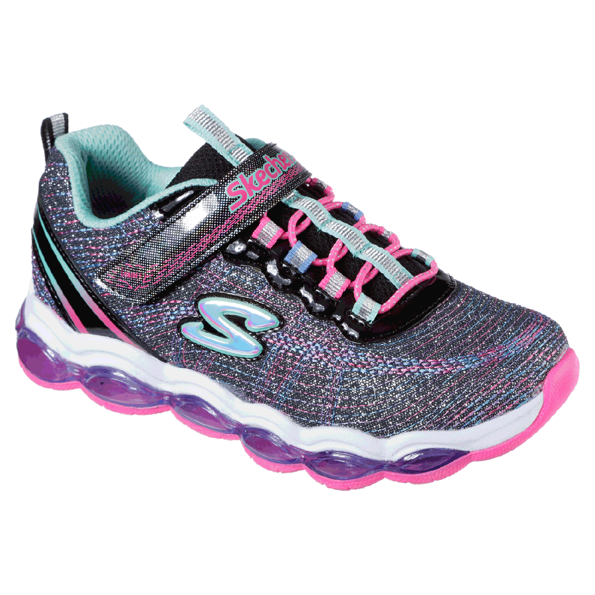 Skechers Girls' Glimmer Lites Shoes - Black, 11