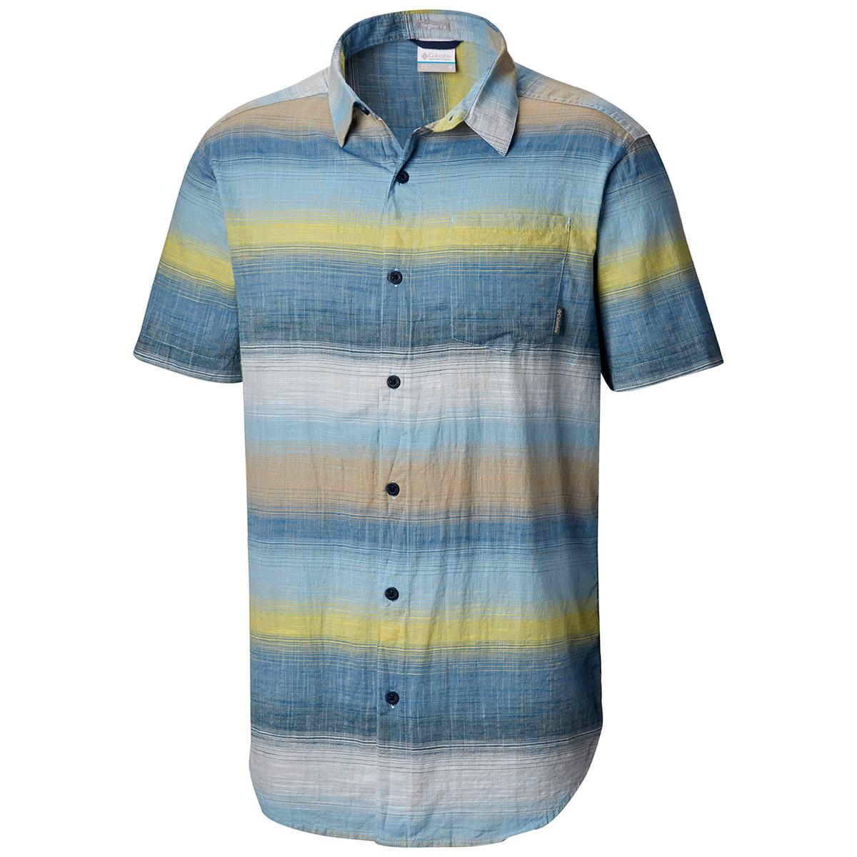 Columbia Men's Under Exposure Yarn-Dye Short Sleeve Shirt - Blue, M