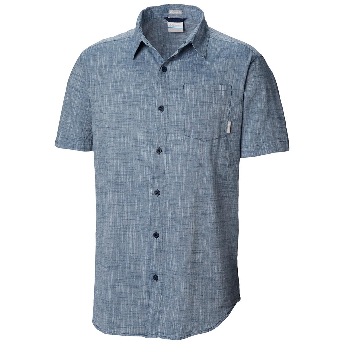 Columbia Men's Under Exposure Yarn-Dye Short Sleeve Shirt - Blue, XL