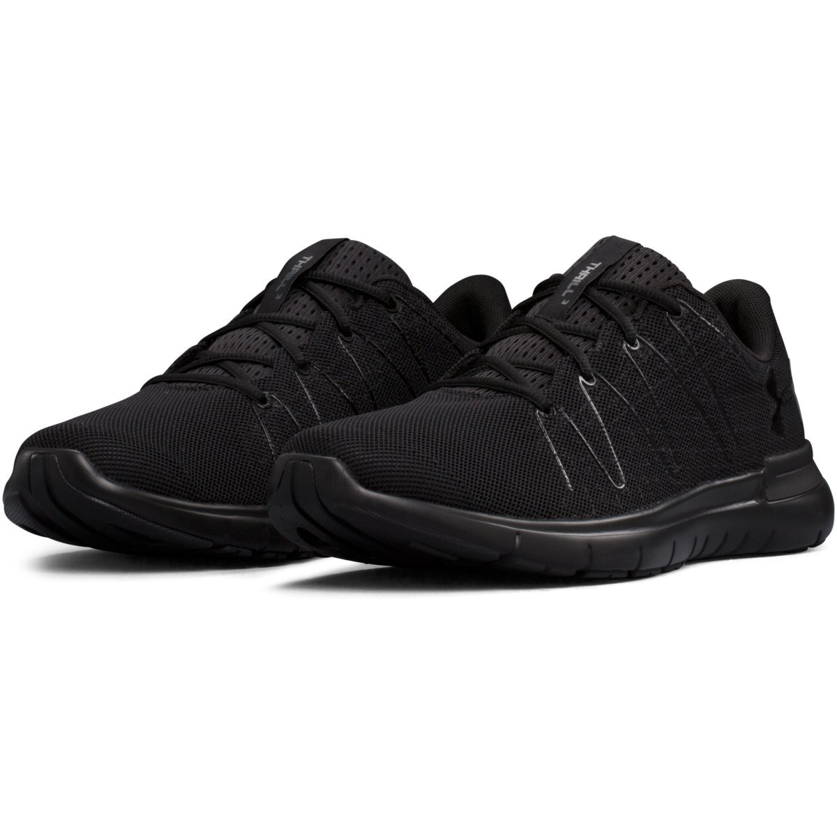 watch ec6a0 bf006 UNDER ARMOUR Men's Thrill 3 Running Shoes, Triple Black ...