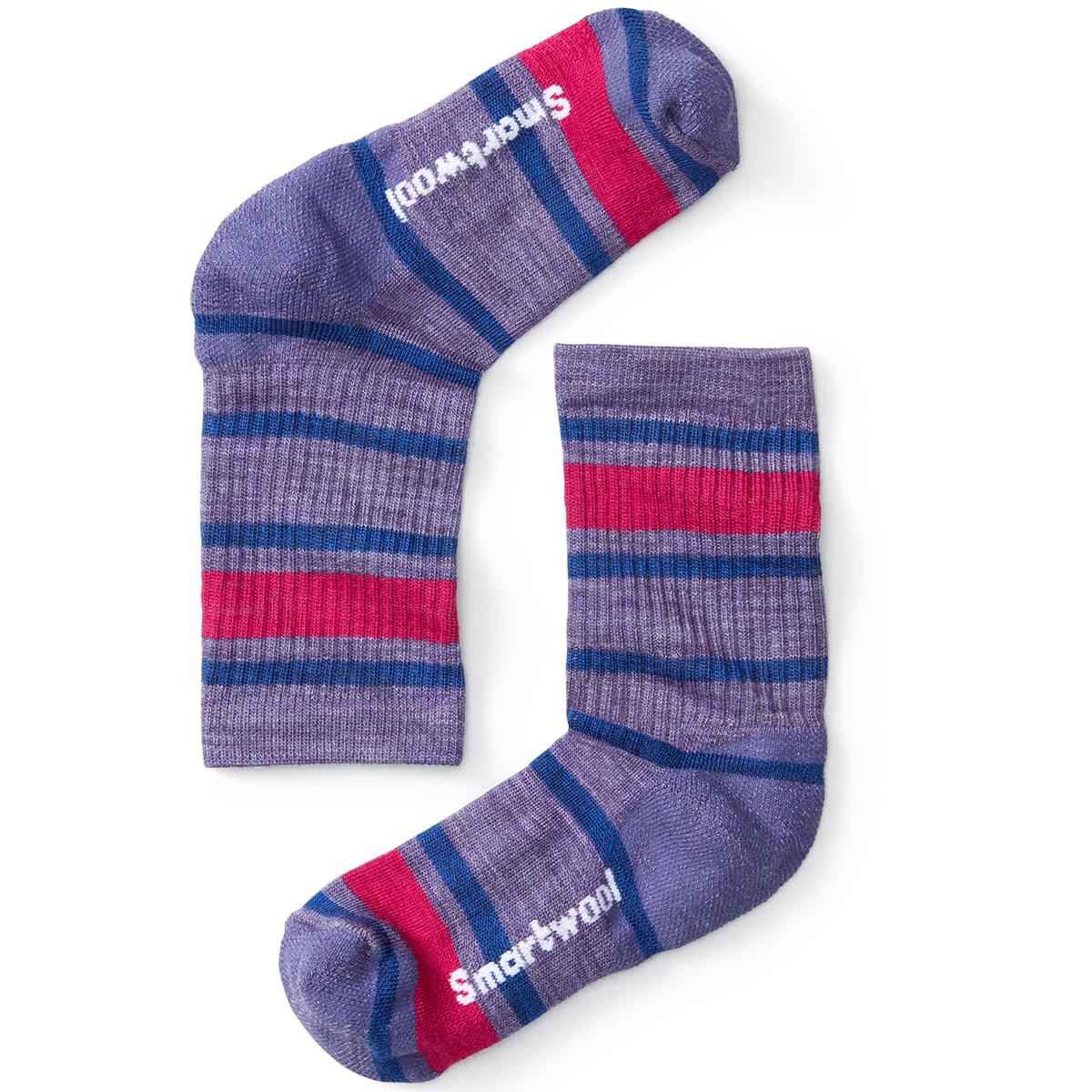 Smartwool Kids' Striped Hike Light Crew Socks - Purple, L