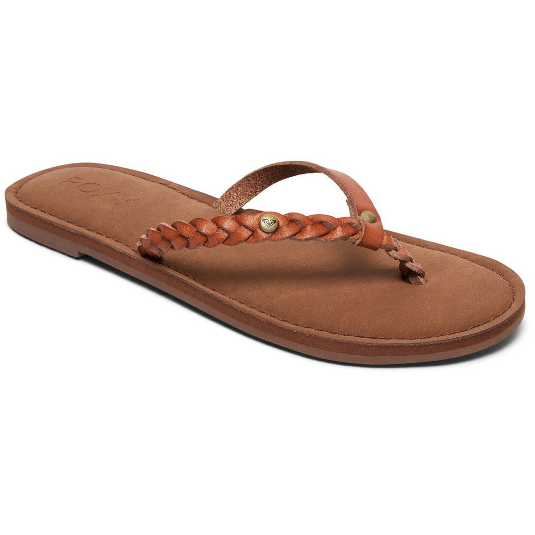 Roxy Women's Livia Braided Strap Flip Flops - Brown, 9