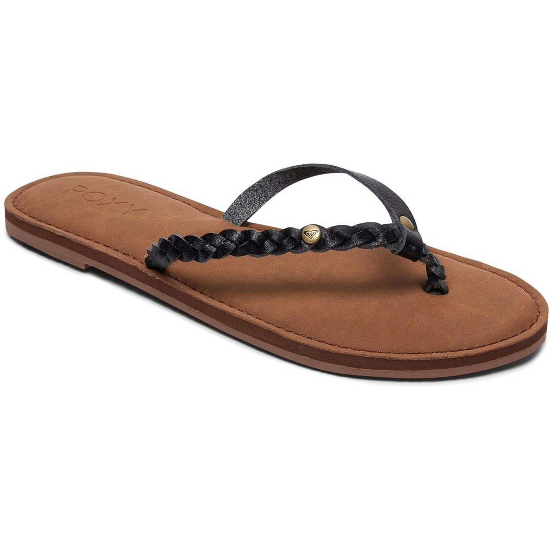 Roxy Women's Livia Braided Strap Flip Flops - Black, 9