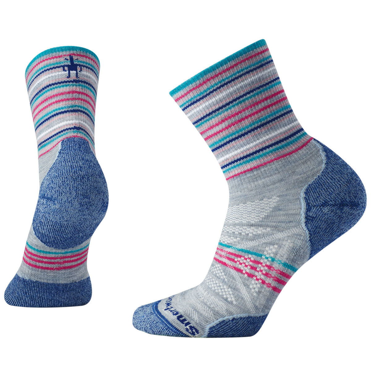 Smartwool Women's Phd Outdoor Light Pattern Mid Crew Socks - Blue, L