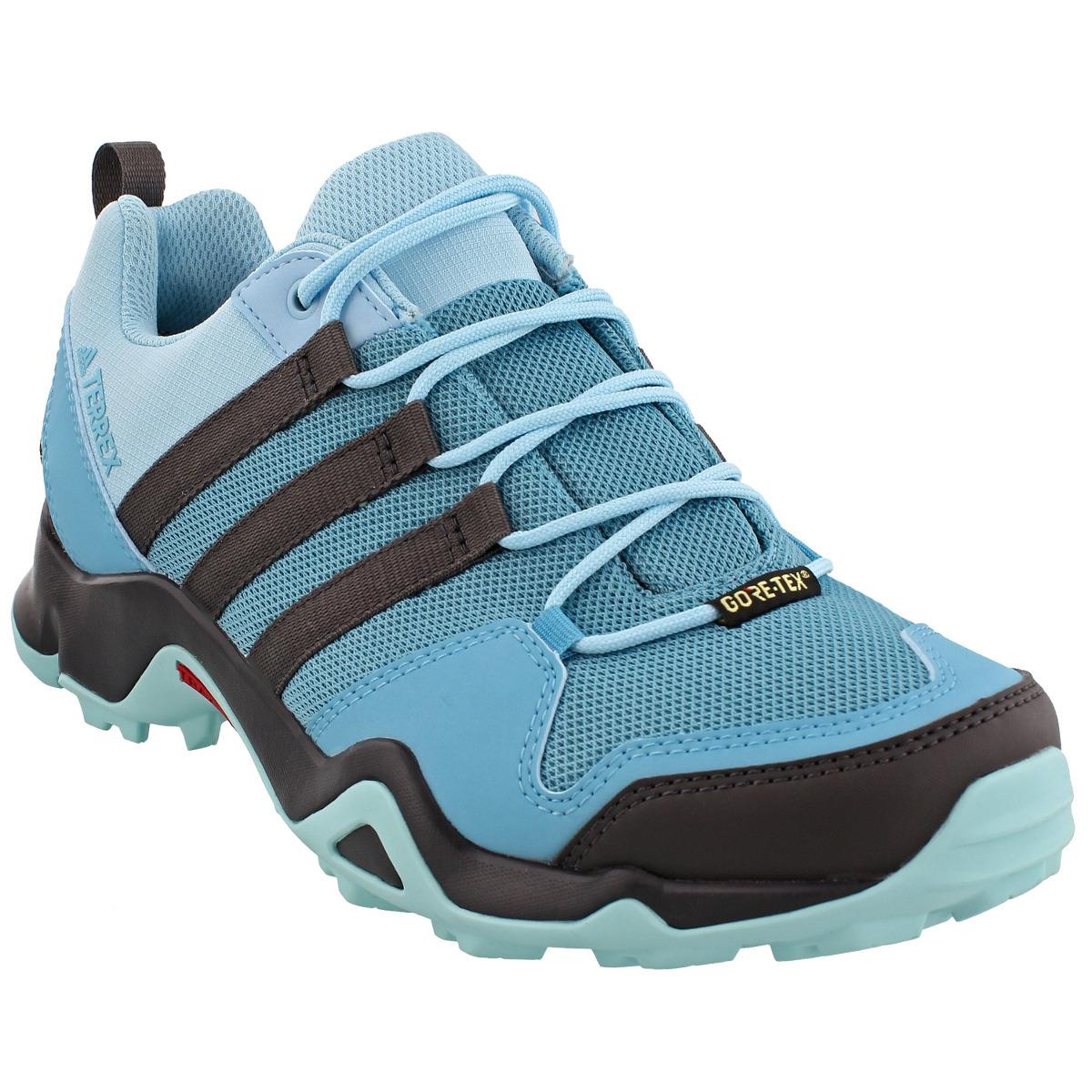 ADIDAS Women's Terrex AX2R GTX Hiking Shoes, Vapor Blue/Utility Black/Clear Aqua