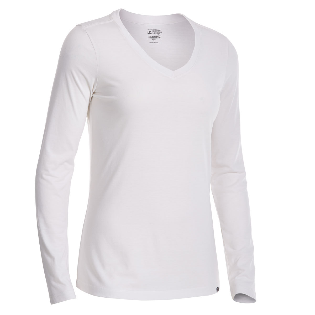 Ems Women's Techwick Vital V-Neck Long-Sleeve Tee - White, L