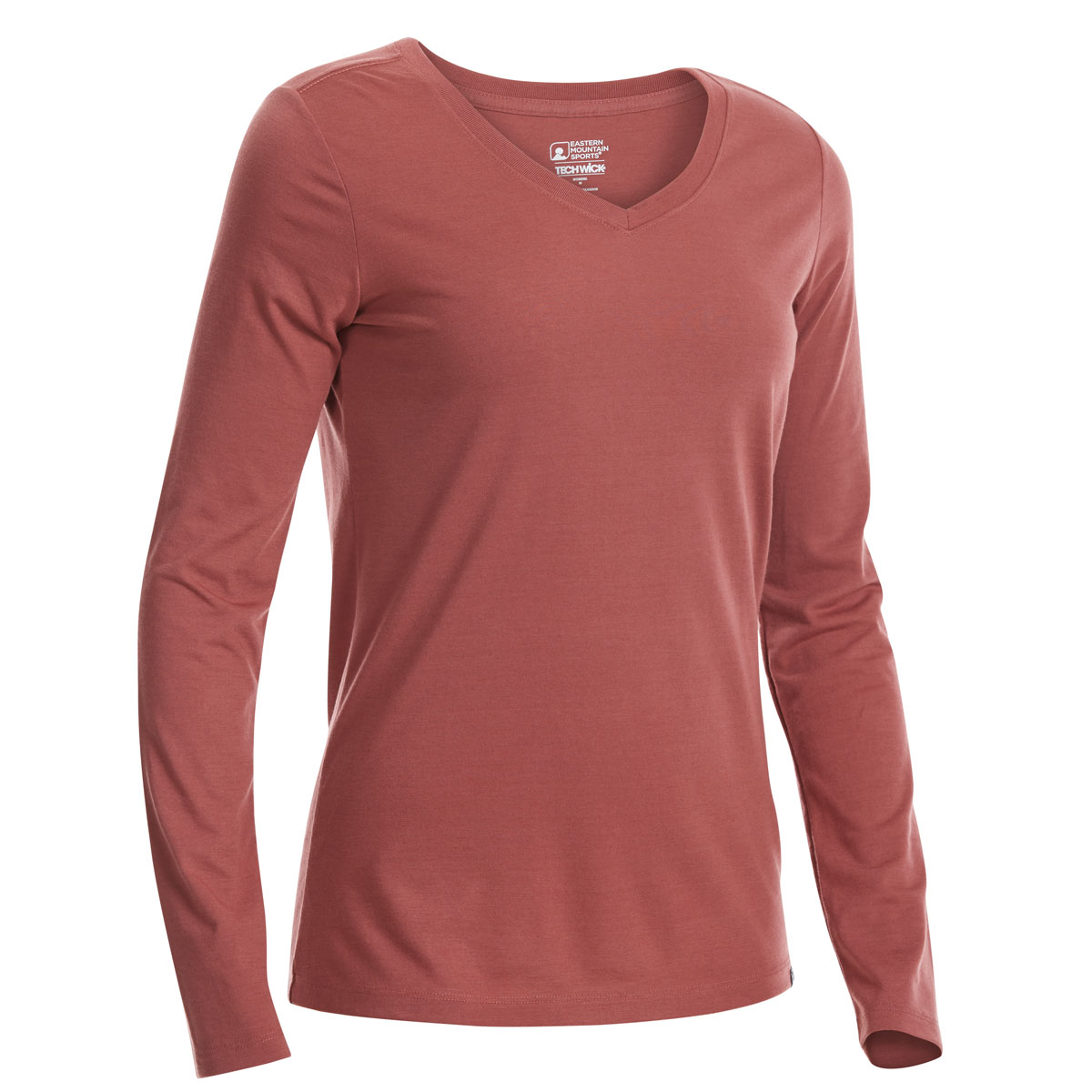 Ems Women's Techwick Vital V-Neck Long-Sleeve Tee - Red, XS
