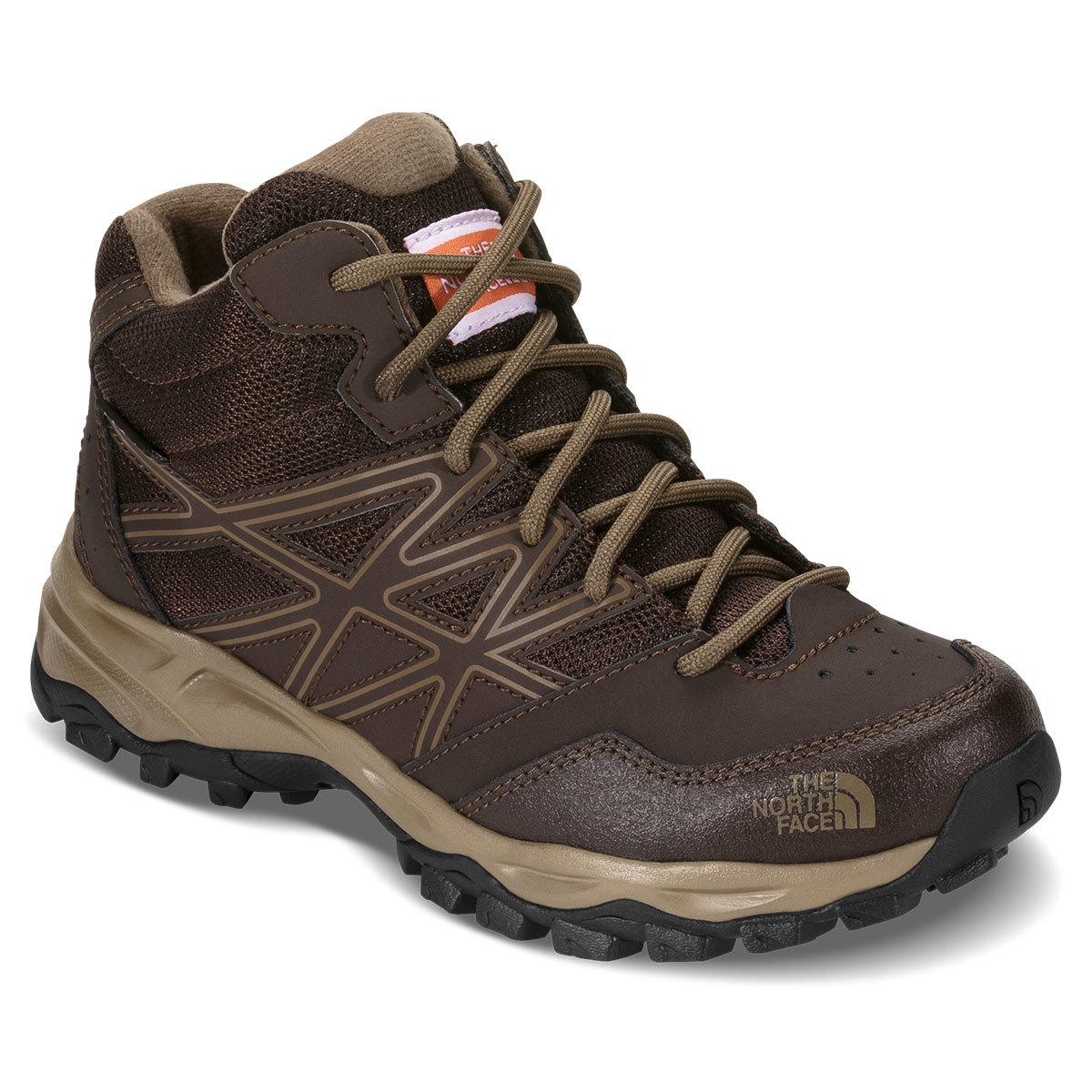 The North Face Boys' Jr Hedgehog Hiker Mid Waterproof Hiking Boots - Brown, 3