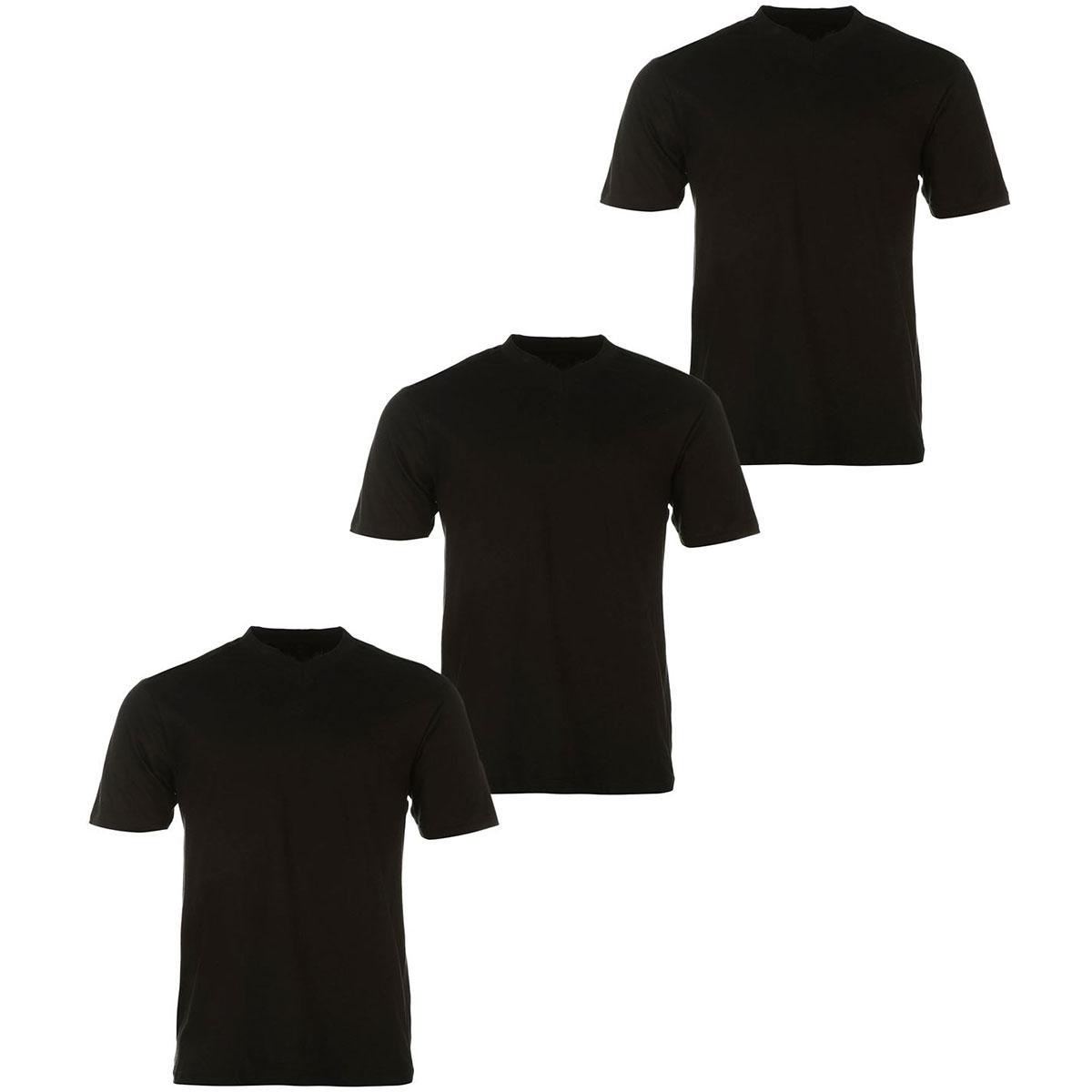 Donnay Men's V-Neck Short-Sleeve Tees, 3-Pack - Black, S