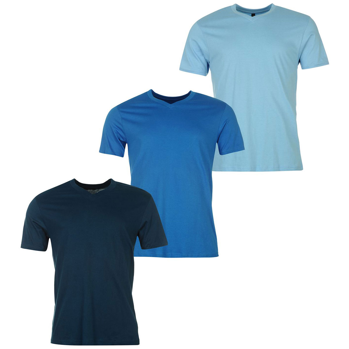 Donnay Men's V-Neck Short-Sleeve Tees, 3-Pack - Blue, 4XL