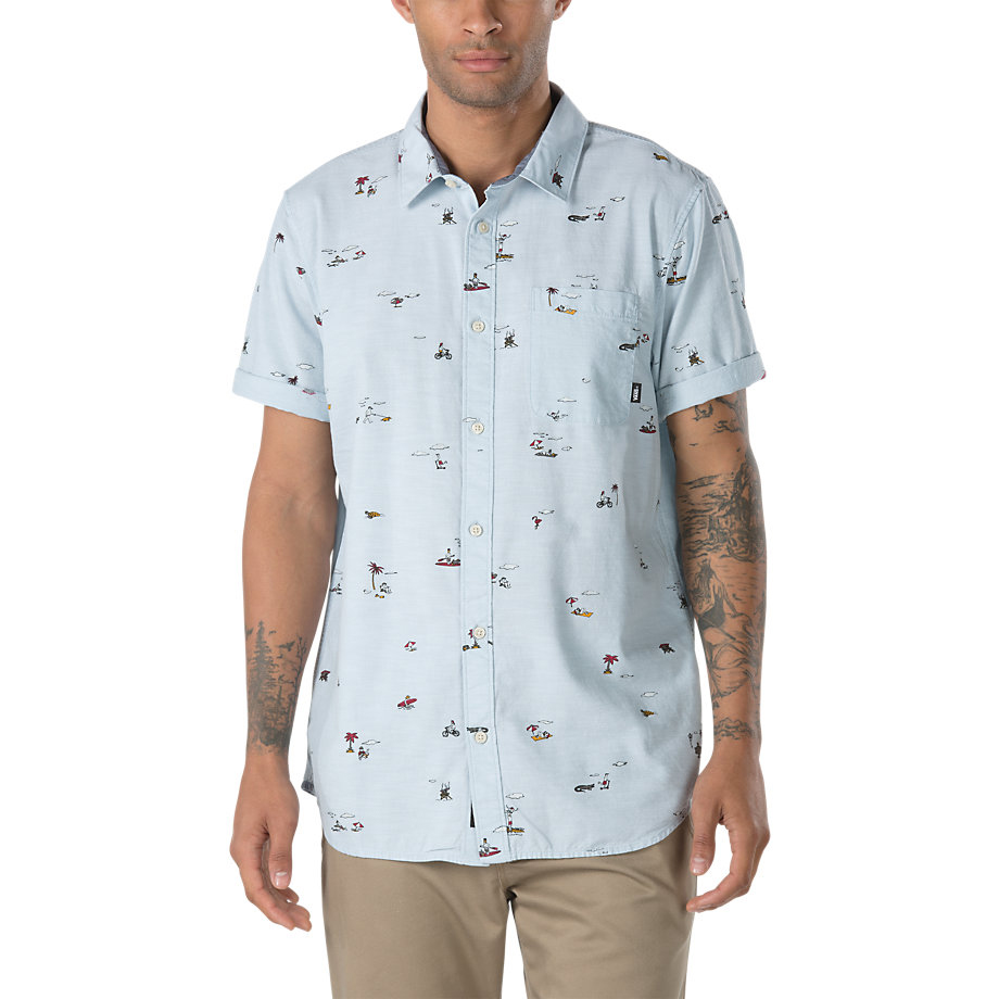 Vans Guys' Tres Palmas Print Woven Short-Sleeve Shirt - Blue, S