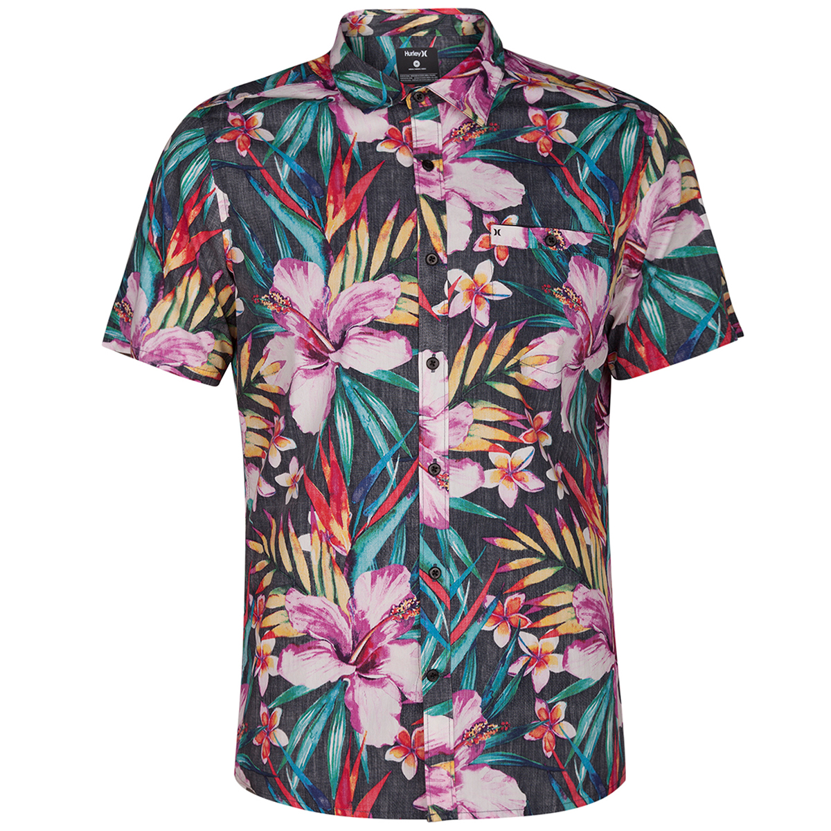 Hurley Guys' Garden Floral Woven Short-Sleeve Shirt - Black, XL