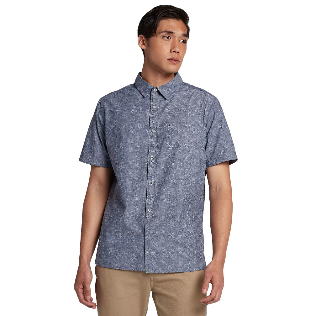Hurley Guys' Pescado Oxford Short-Sleeve Shirt - Blue, XL