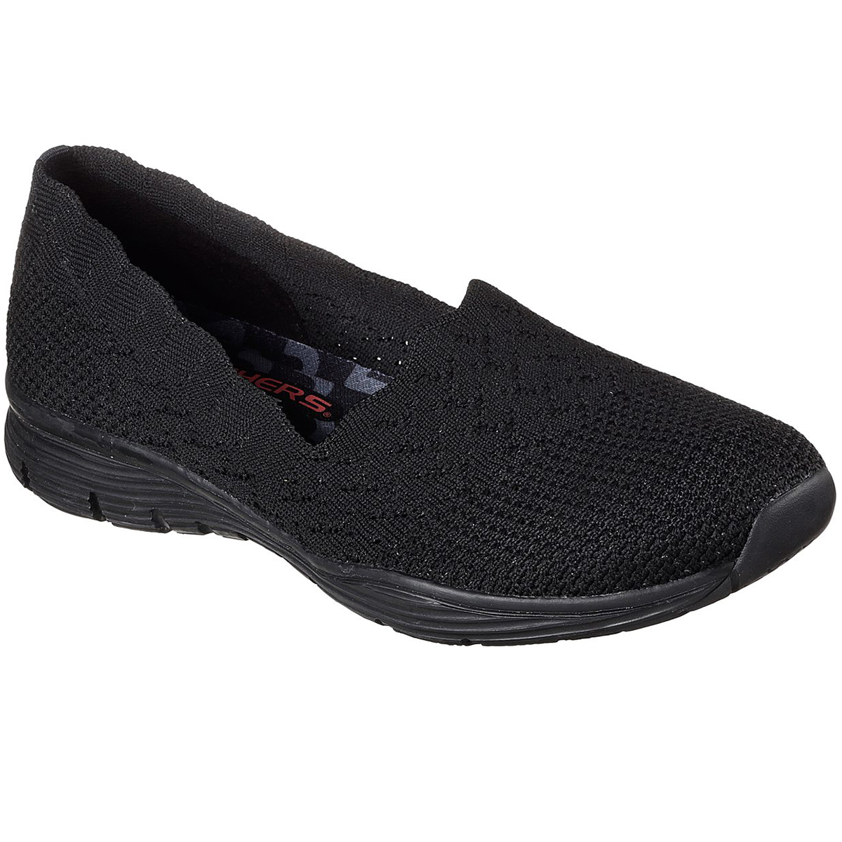 Skechers Women's Seager - Stat Casual Slip-On Shoes - Black, 11