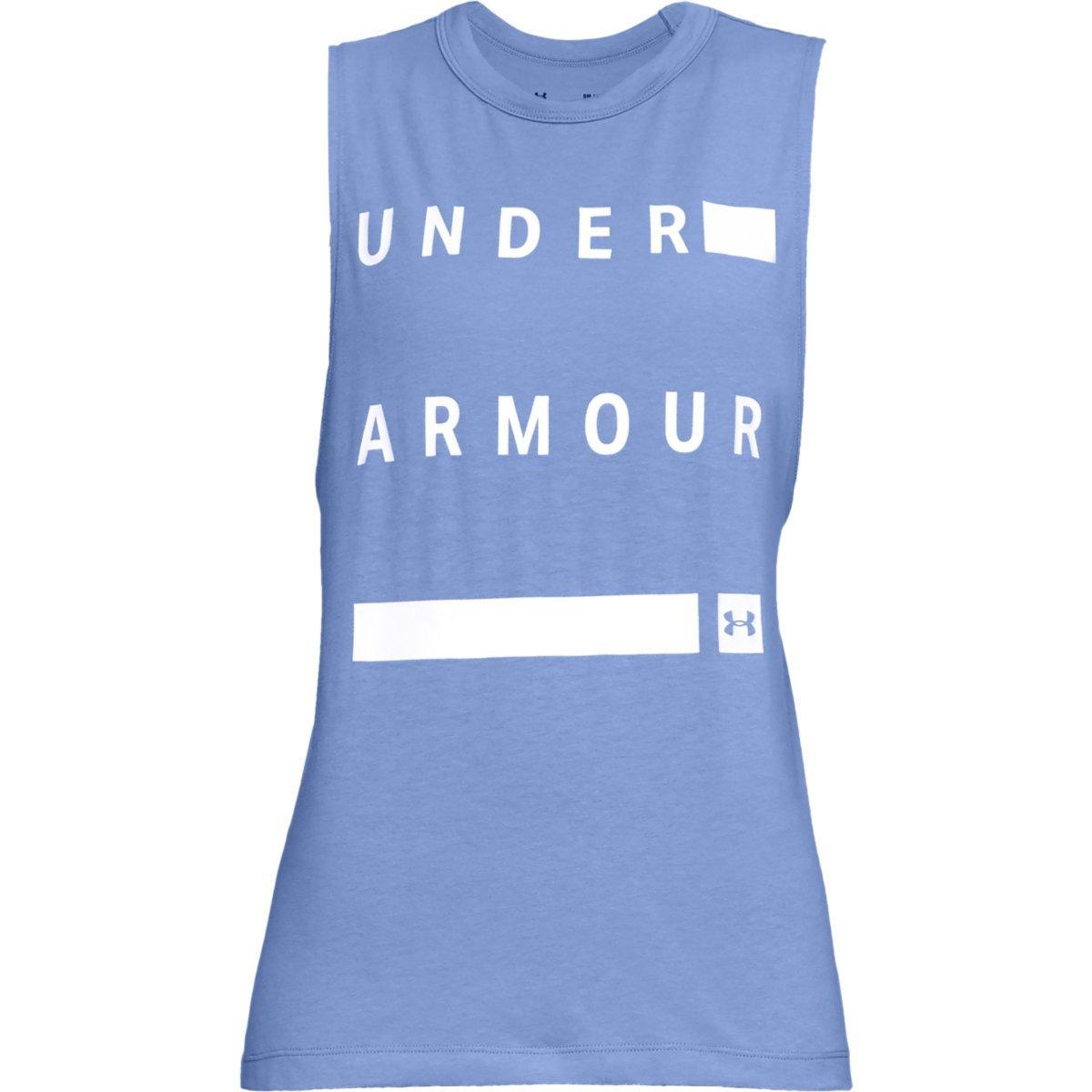 Under Armour Women's Linear Wordmark Muscle Tee - Blue, L