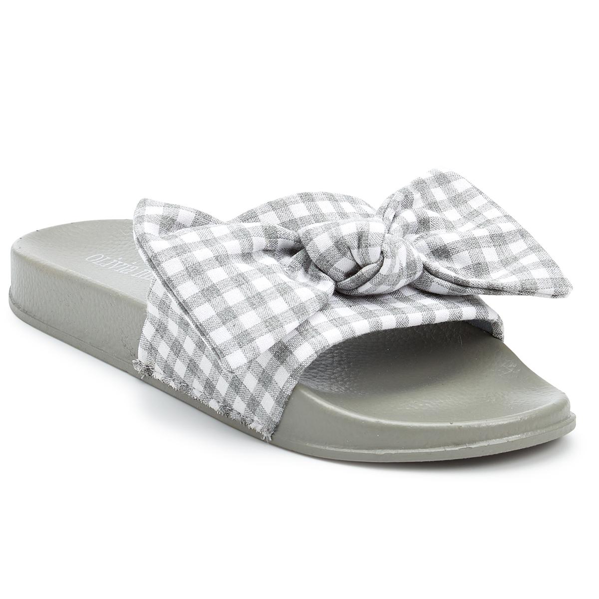 Olivia Miller Women's Gingham Bow Slide Sandals - Black, 7