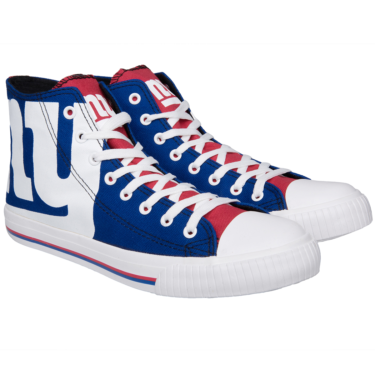 New York Giants Men's Big Logo High-Top Canvas Sneakers - Blue, 12