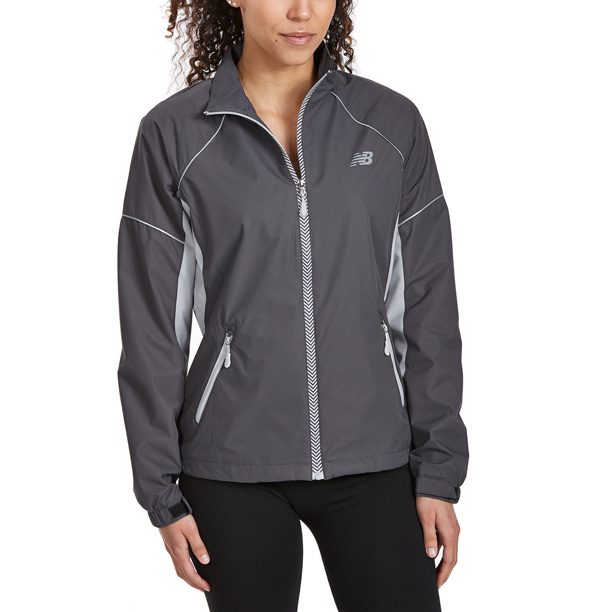 New Balance Women's Poly Dobby Mock Neck Jacket - Black, L