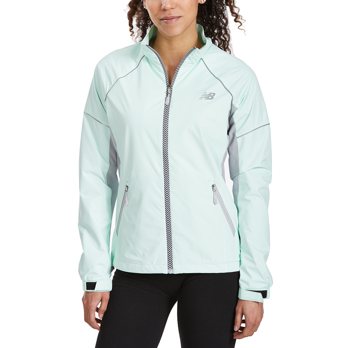 New Balance Women's Poly Dobby Mock Neck Jacket - Green, L