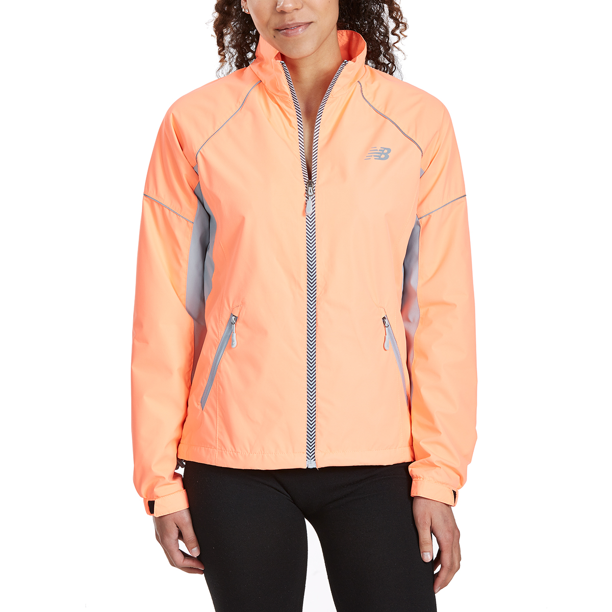 New Balance Women's Poly Dobby Mock Neck Jacket - Orange, M